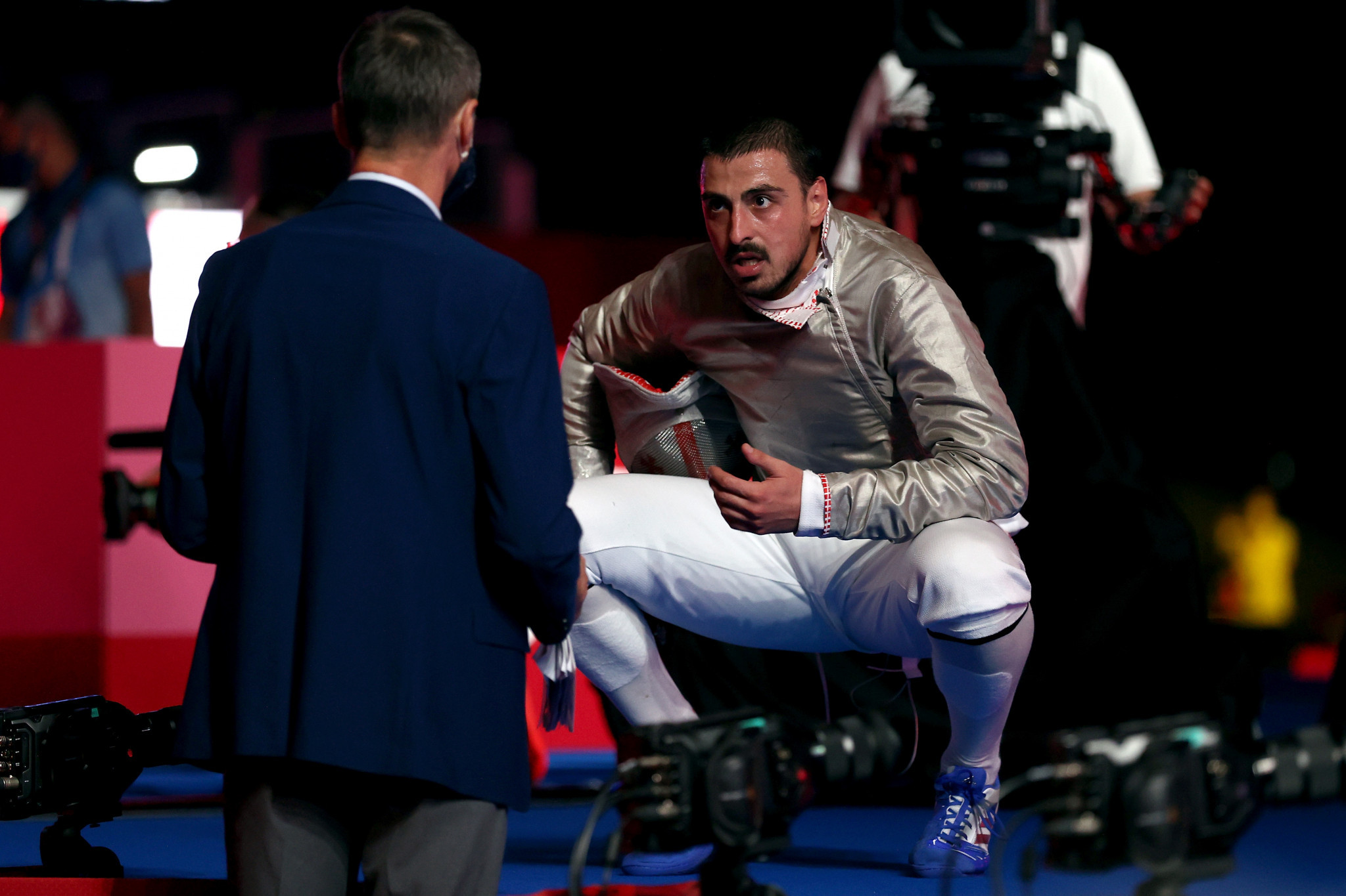 Sandro Bazadze of Georgia shows his frustration to officials during his men's sabre individual semi-final defeat ©Getty Images