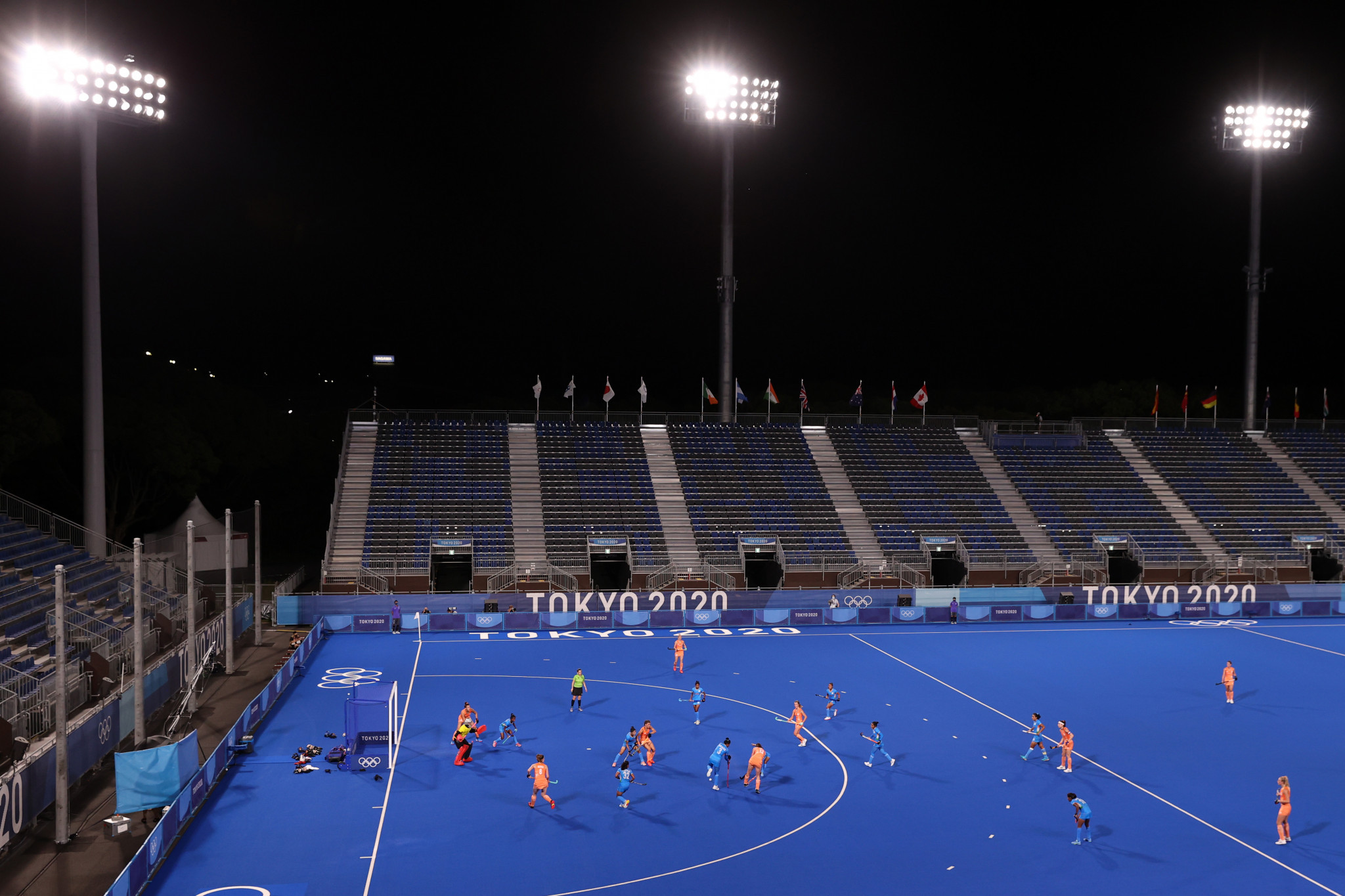 The Netherlands and India battle it out in the women's preliminary pool at a near-empty Oi Hockey Stadium which was built for Tokyo 2020 ©Getty Images