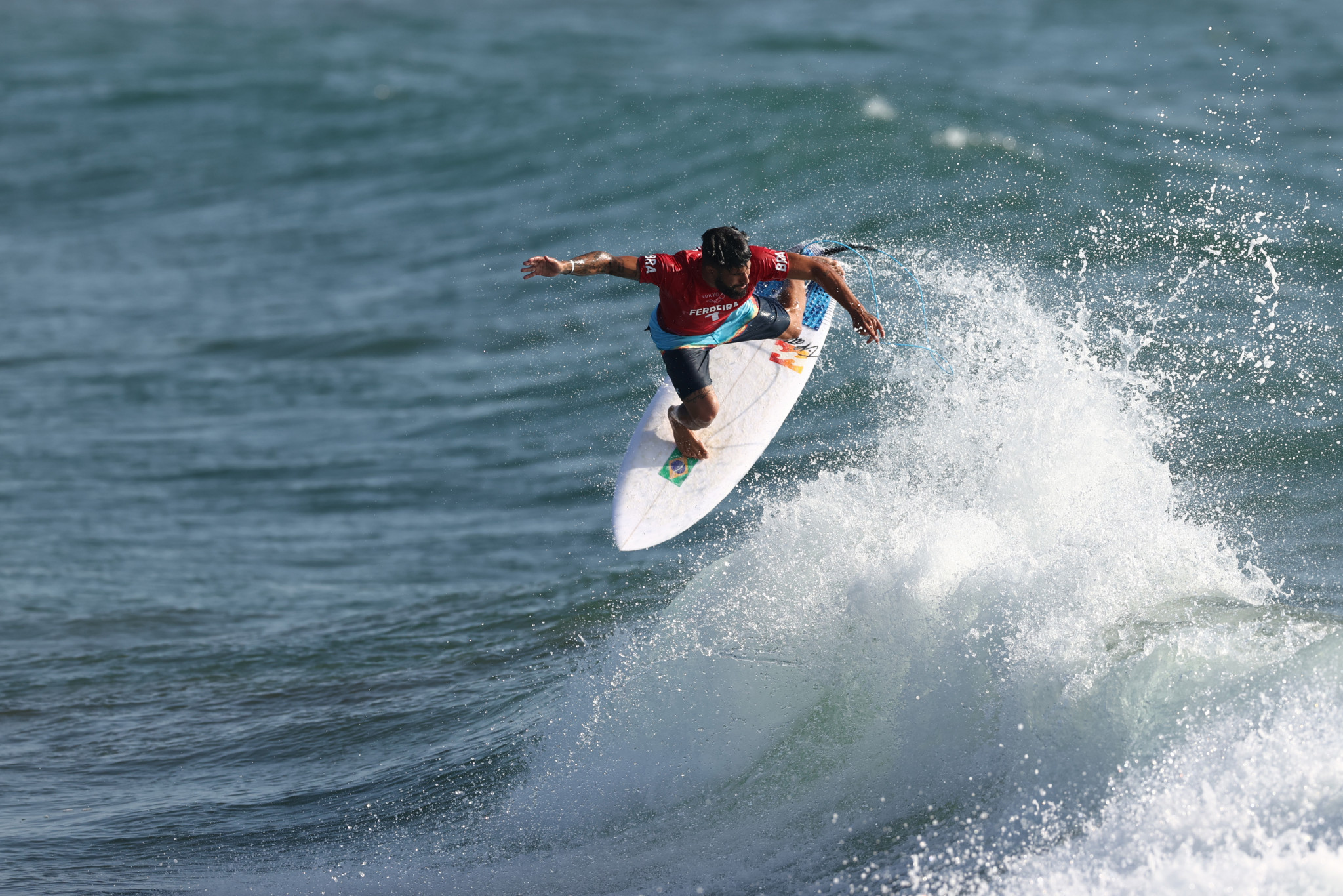 Italo Ferreira won Heat 1 today with a score of 13.67 and is one of the favourites for the gold medal in the men's surfing event ©Getty Images