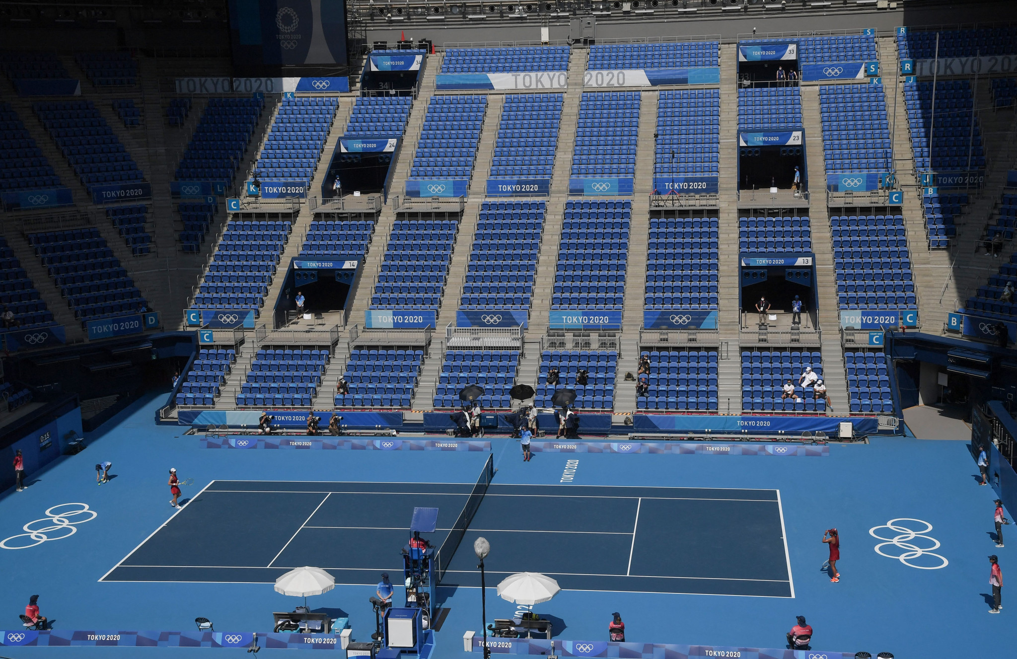 The emptiness of the Ariake Coliseum is a shame when Naomi Osaka is competing at her home Olympics ©Getty Images