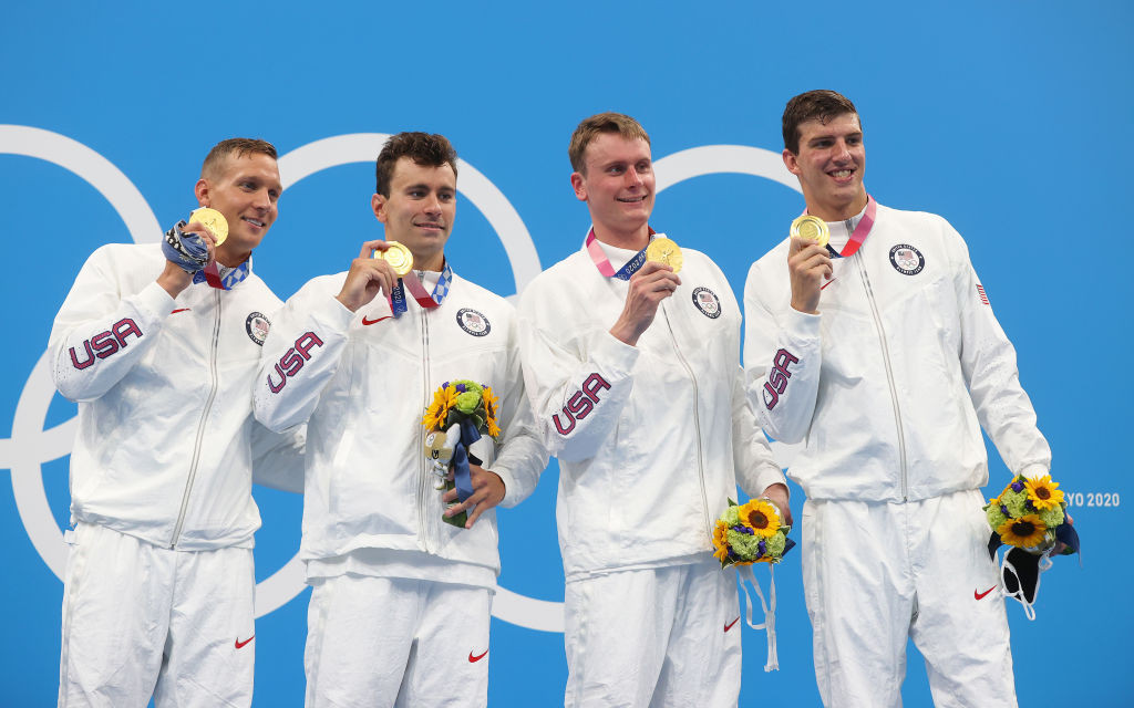 Athletes are allowed to remove their masks for 30 seconds while on the podium