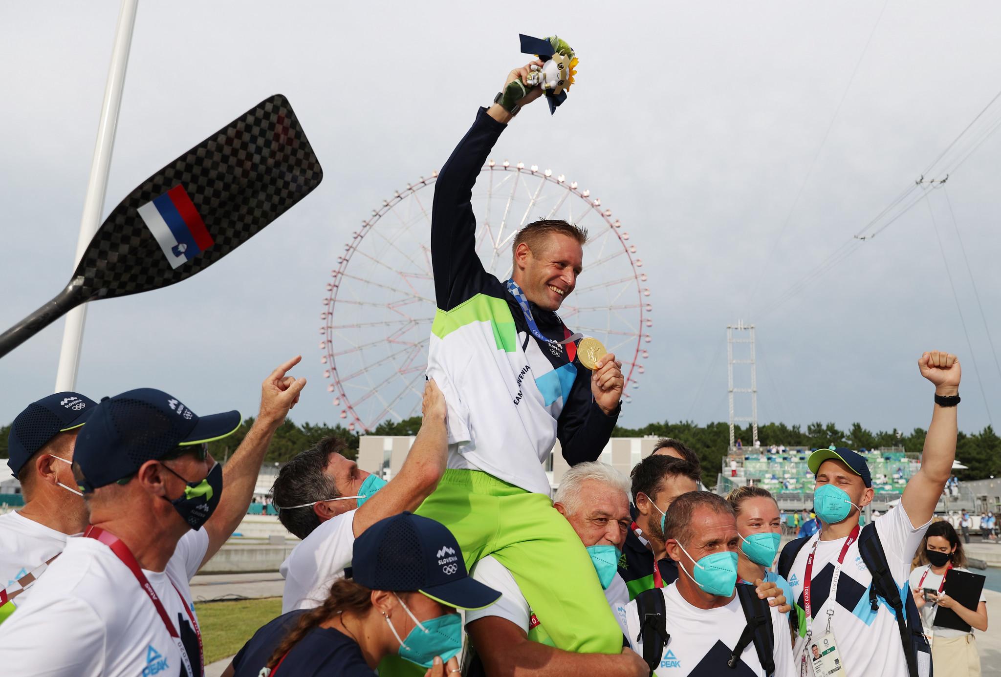 Benjamin Savšek became Slovenia's first Olympic champion in canoe slalom ©Getty Images