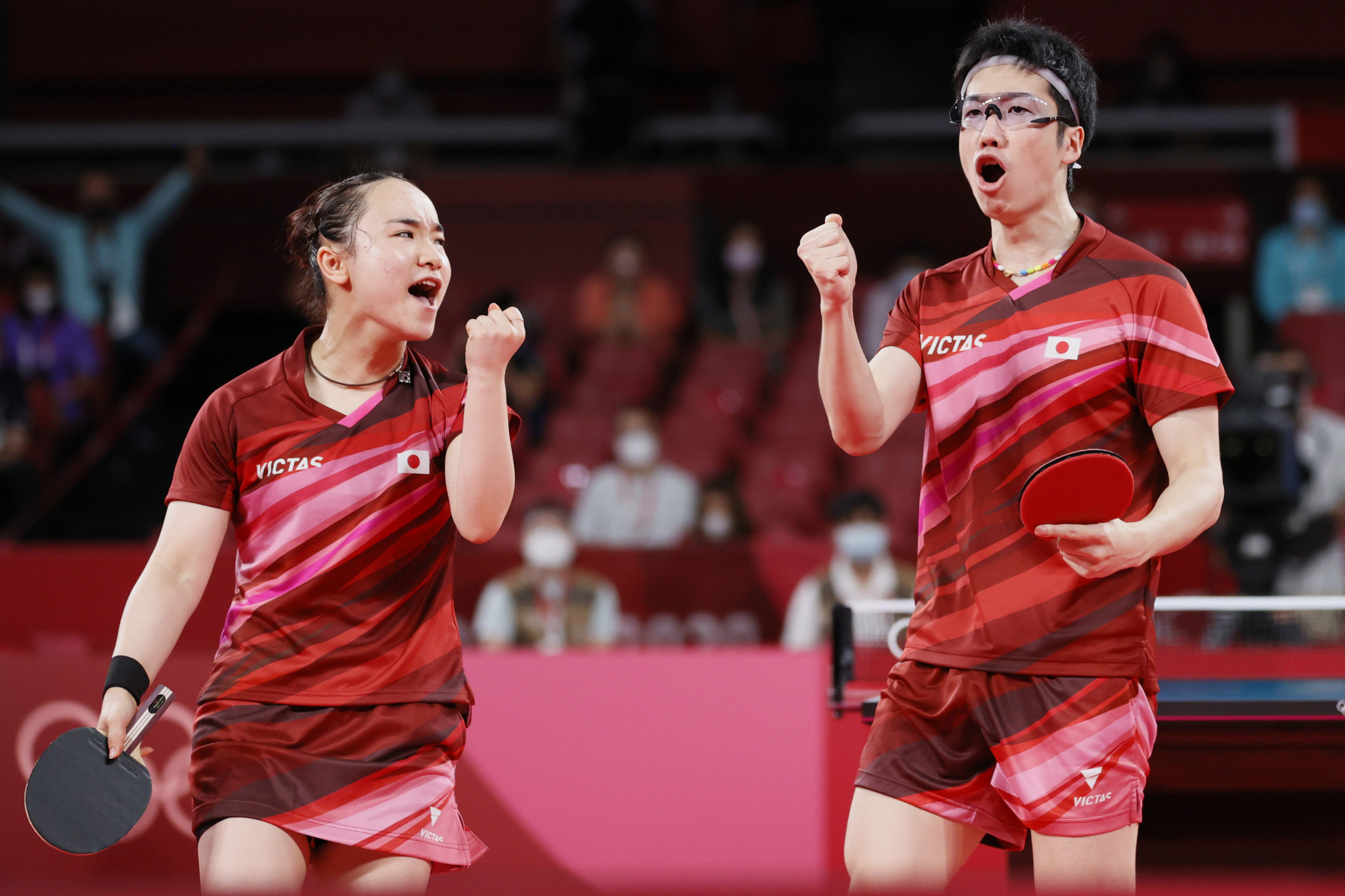 Jun Mizutani and Mima Ito won the seven-game mixed doubles table tennis final - Japan's first-ever Olympic gold medal in the sport ©Getty Images