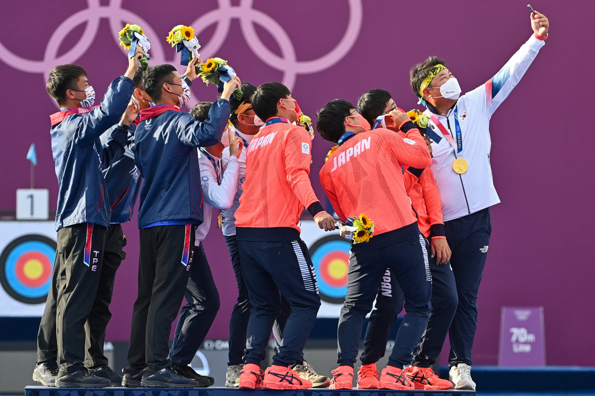 South Korea's archery dominance continued - they won the men's team event, with Chinese Taipei second and Japan third  ©Getty Images
