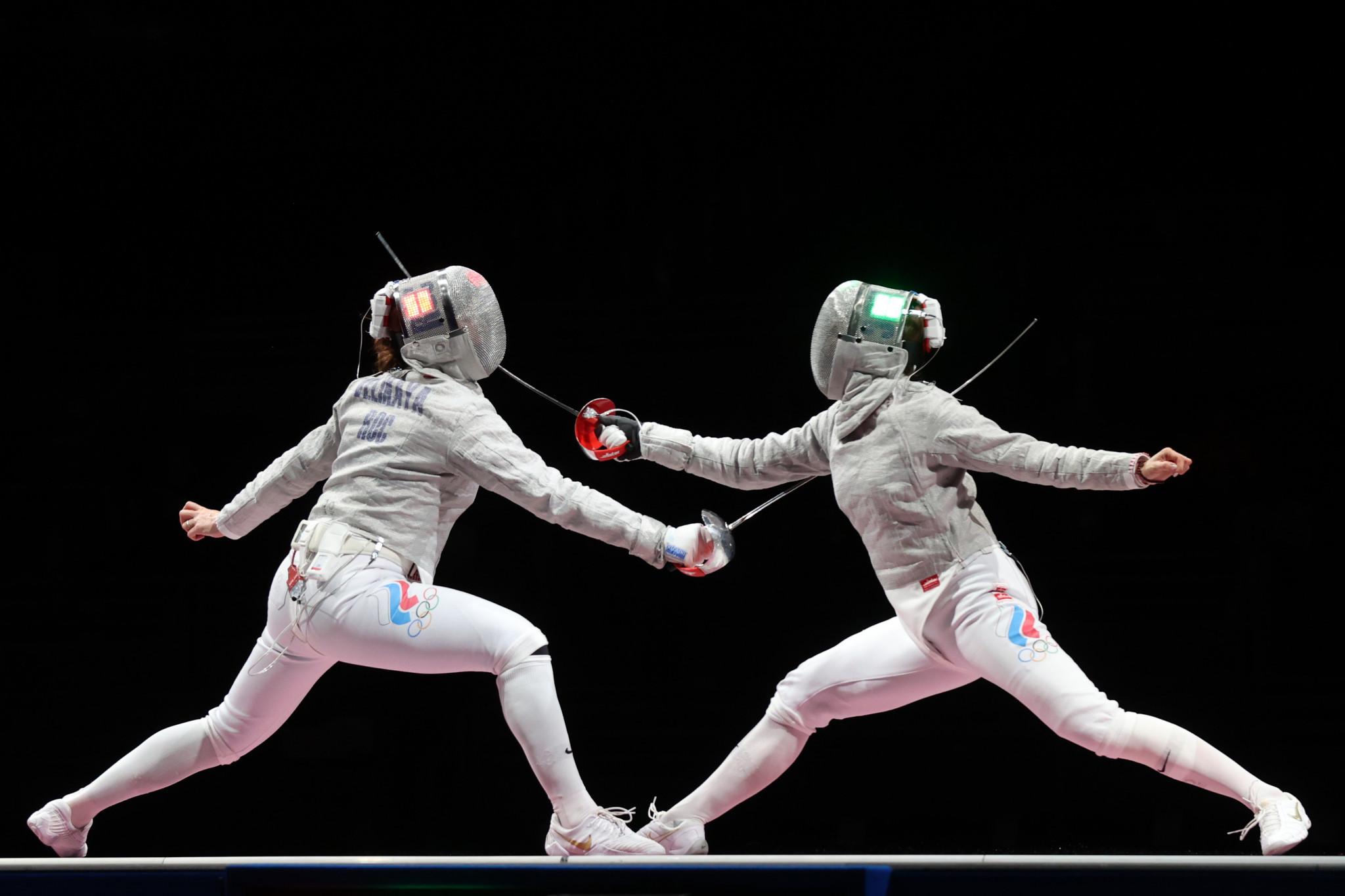 Sofia Pozdniakova, right, defeated compatriot Sofya Velikaya on her way to Olympic glory in Tokyo ©Getty Images
