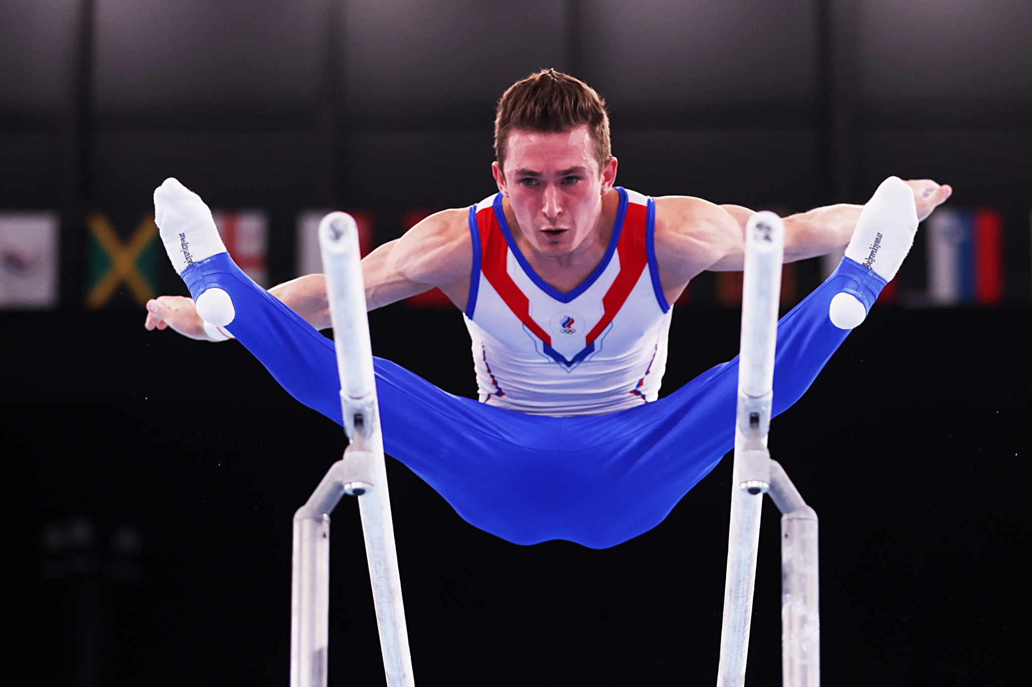 David Belyavskiy parallel bars routine achieved a score of 15.333 in the men's artistic team all-around final at Tokyo 2020 ©Getty Images