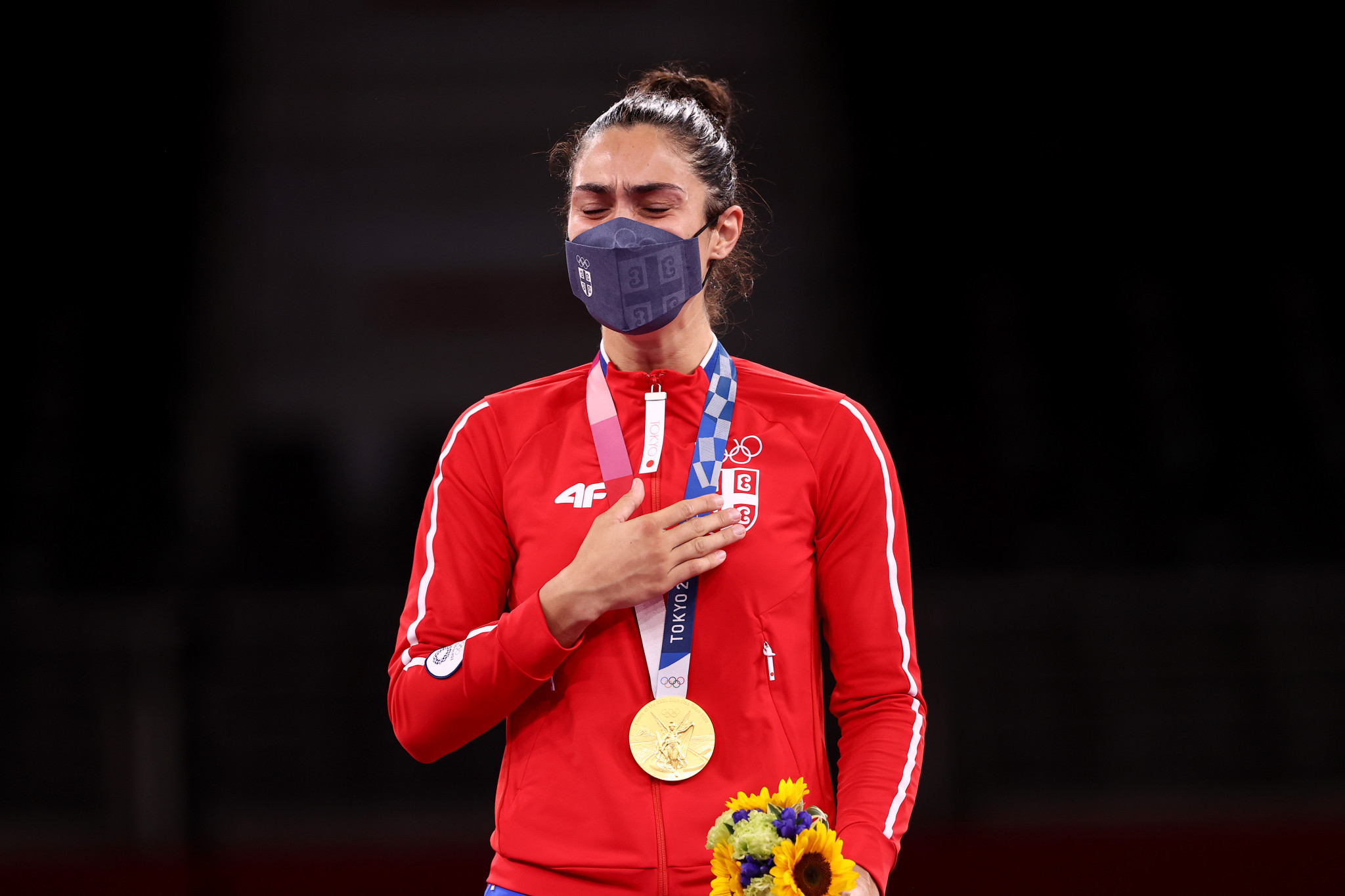 Milica Mandić shed tears on the podium after becoming Serbia's first gold medallist at this year's Olympic Games ©Getty Images