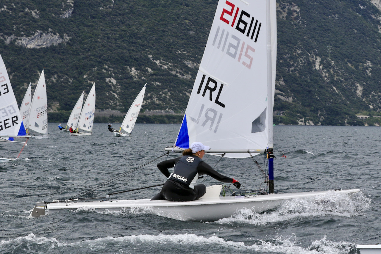 Ireland's Eve McMahon has an early lead in the girls' contest ©Laser International/Elena Giolai