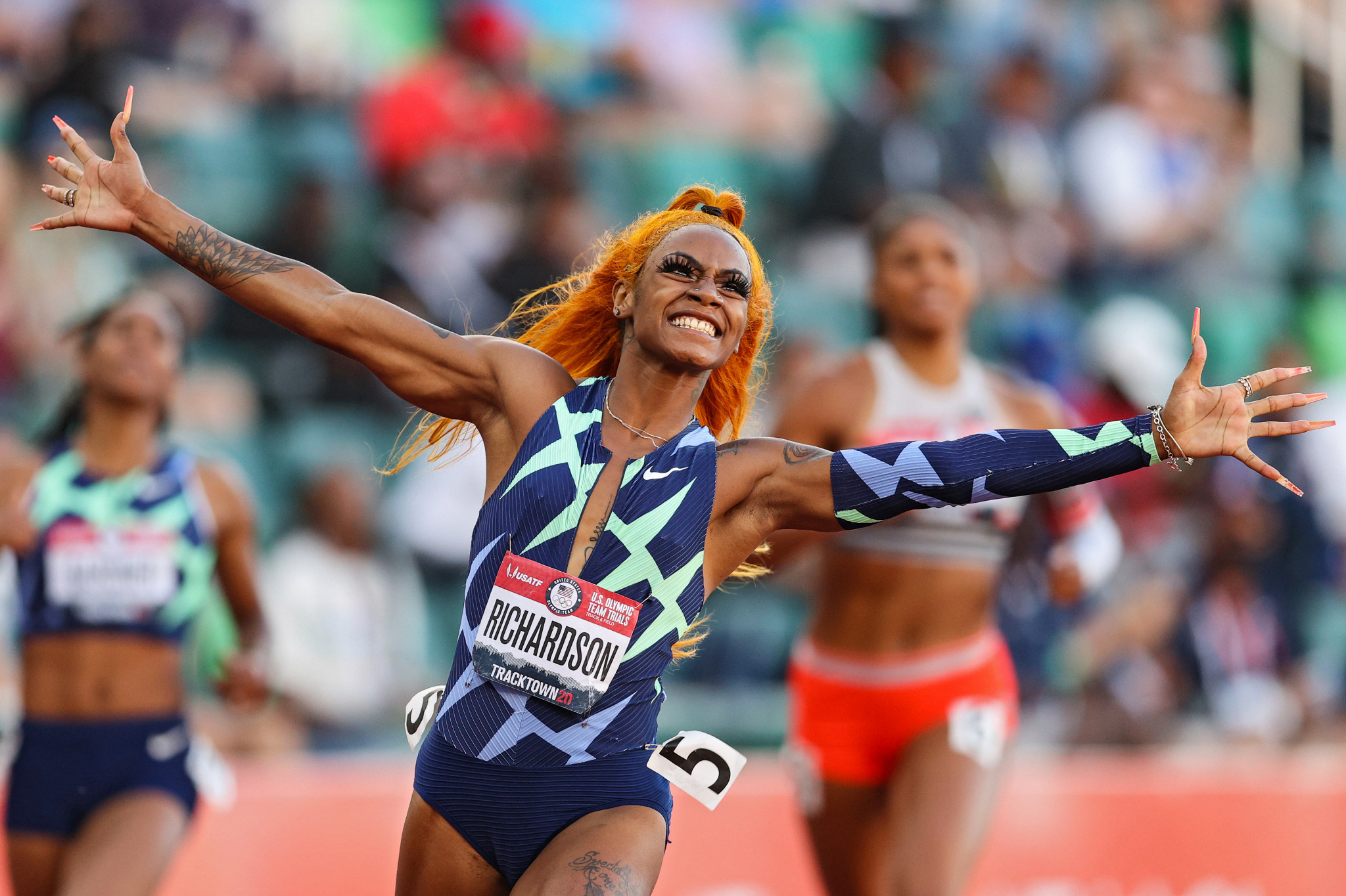Sha'Carri Richardson cannot run at the Olympics, owing to a 30-day ban for testing positive for cannabis ©Getty Images