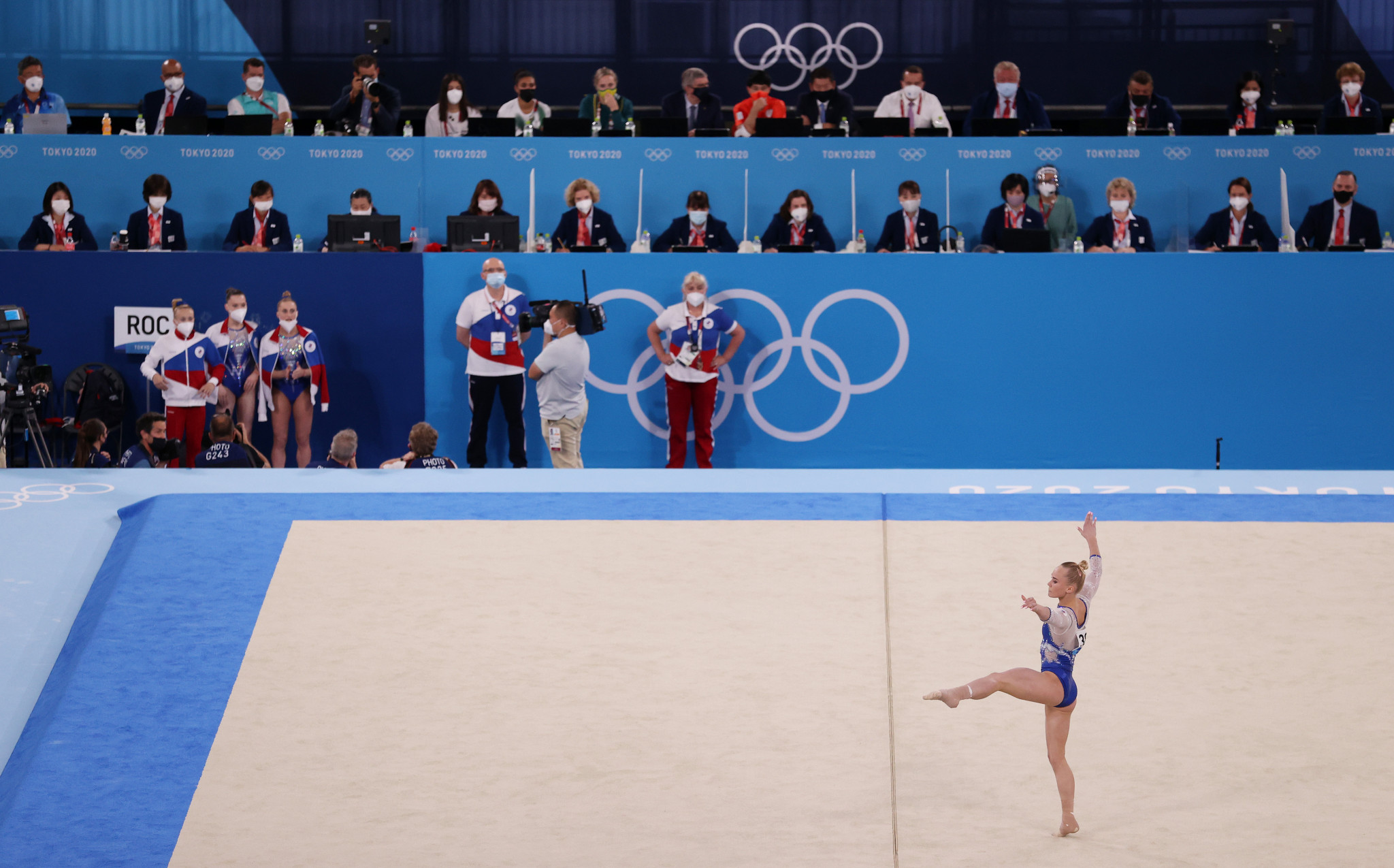 Angelina Melnikova was part of the quartet that won women's team gold at the Tokyo 2020 Olympics ©Getty Images