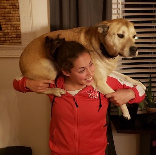 Maude Charron regularly trains from home with dog Murph ©Maude Charron