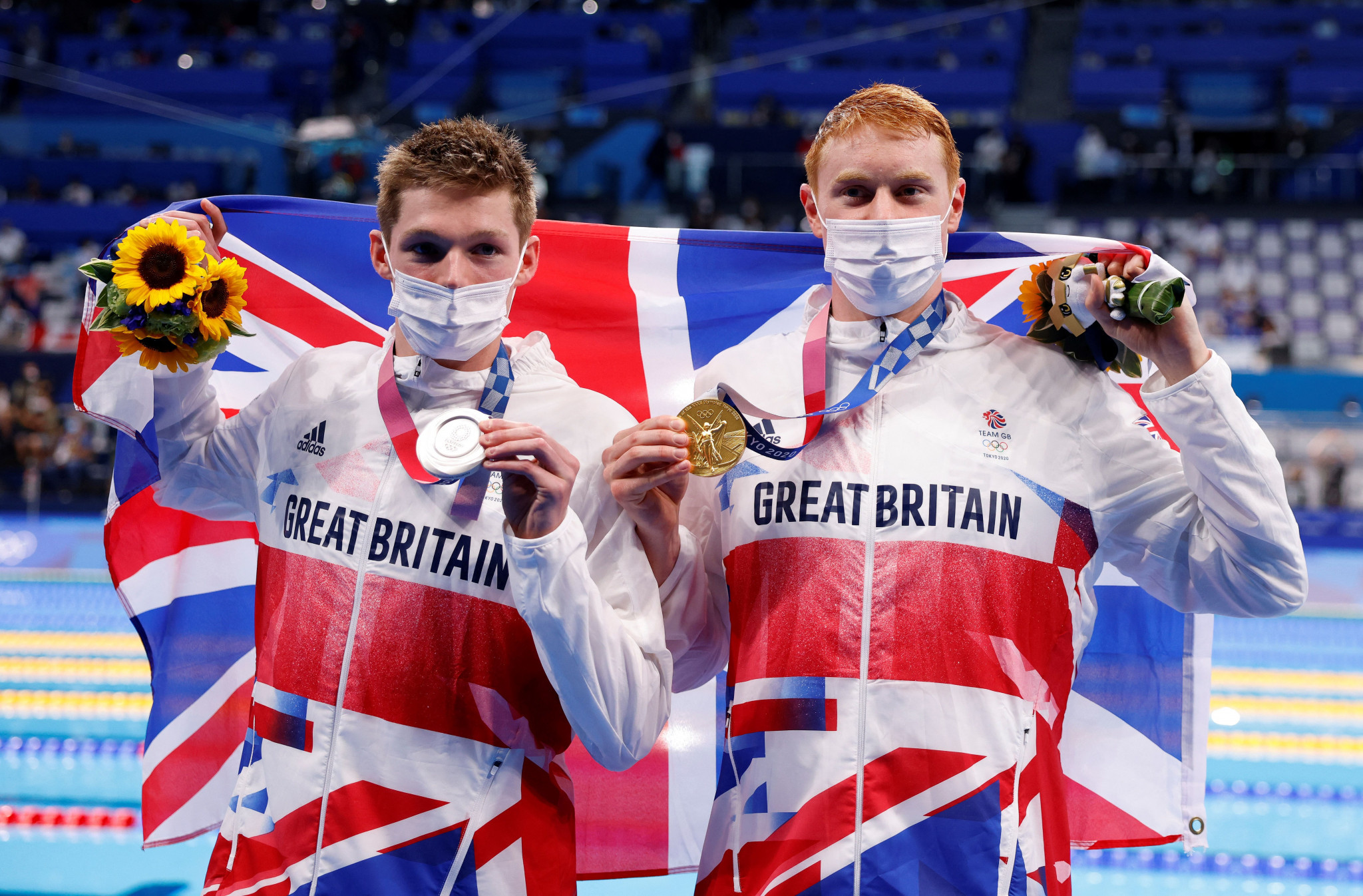 On the other end of the scale, Tom Dean, right, and Duncan Scott gave Britain a first one-two finish in an Olympic swimming pool for 113 years after powering onto the men's 200m freestyle podium  ©Getty Images
