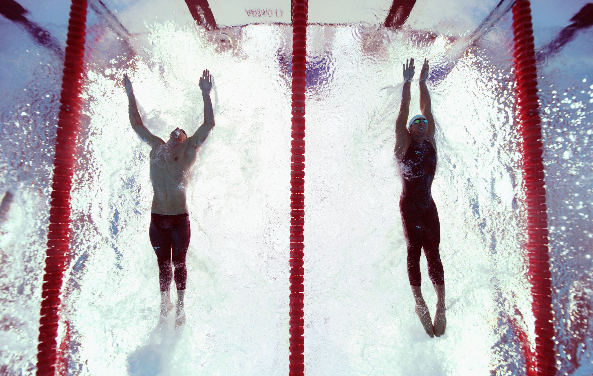 Michael Phelps, left, was adjudged to have beaten Milorad Čavić, right, in a controversial finish at Beijing 2008 ©Getty Images