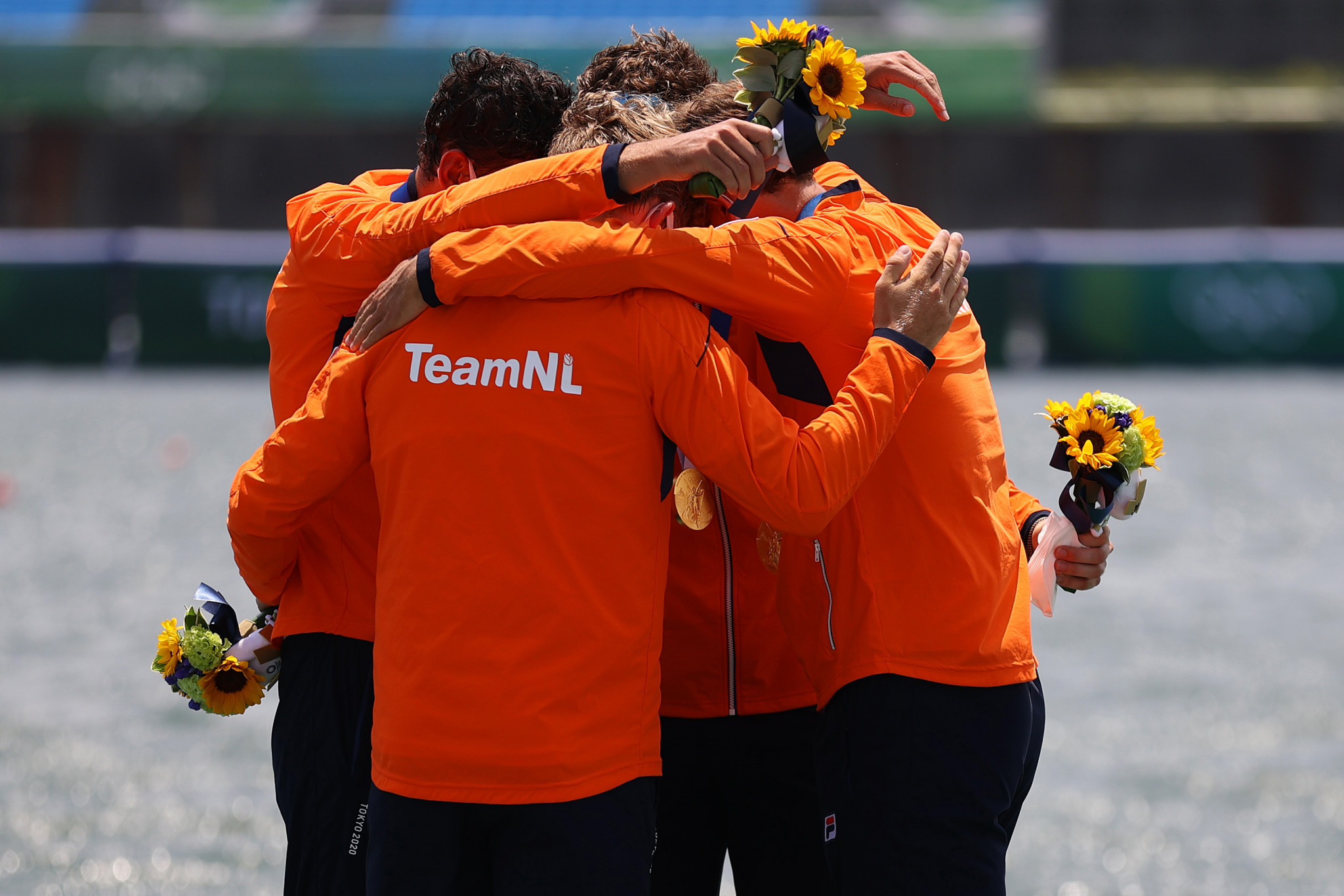 The Netherlands celebrate their victory in the quadruple sculls final after living up to their tag as favourites ©Getty Images