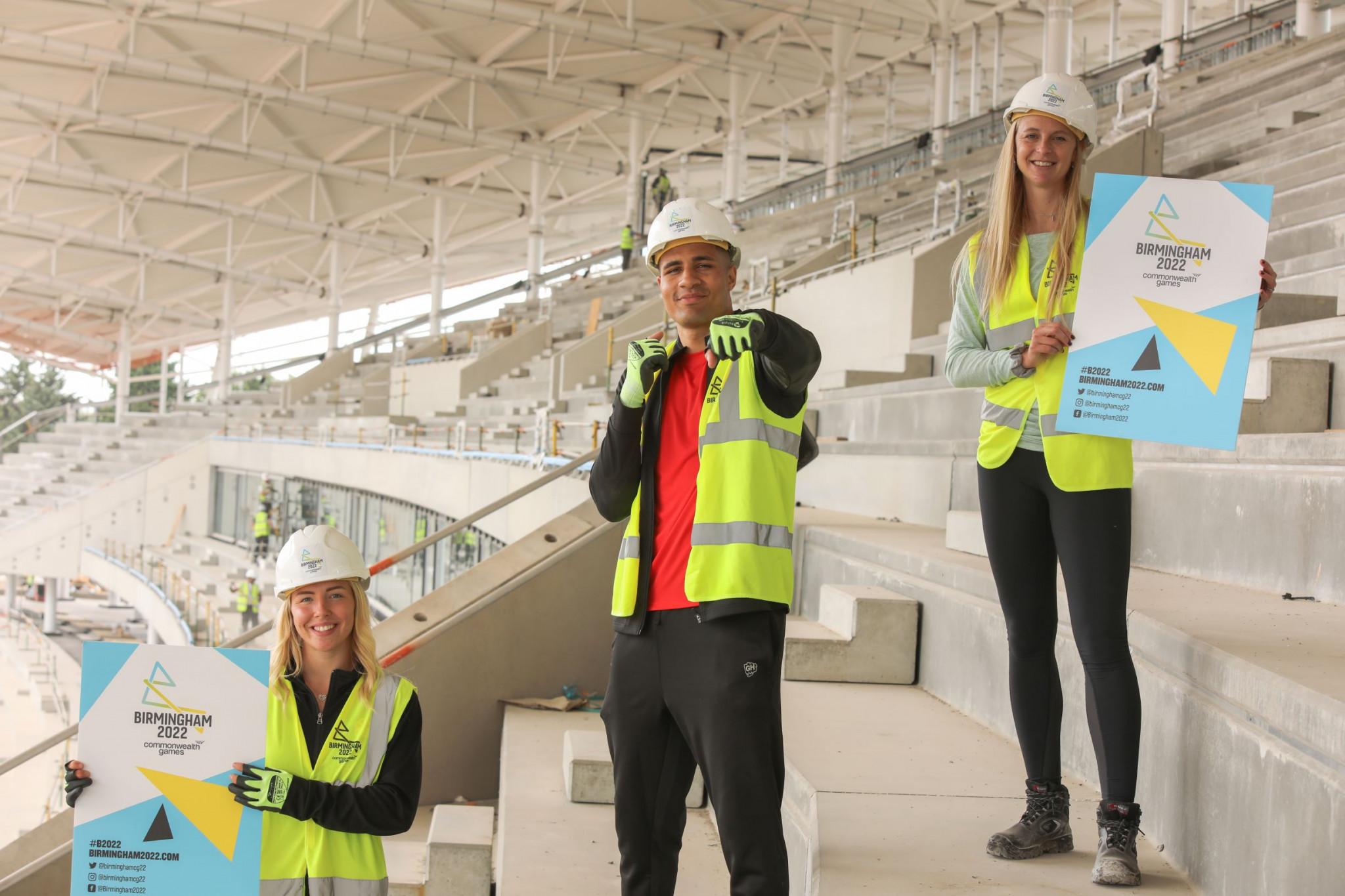 Kelly-Petersen Pollard, Delicious Orie and Hannah England pictured at the Alexander Stadium, Birmingham ©Birmingham 2022