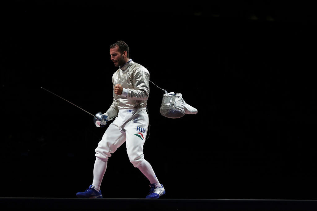 Hungary's three-times individual Olympic men's sabre champion Aron Szilagyi celebrates after securing victory in the men's team sabre bronze-medal match against Germany tonight ©Getty Images