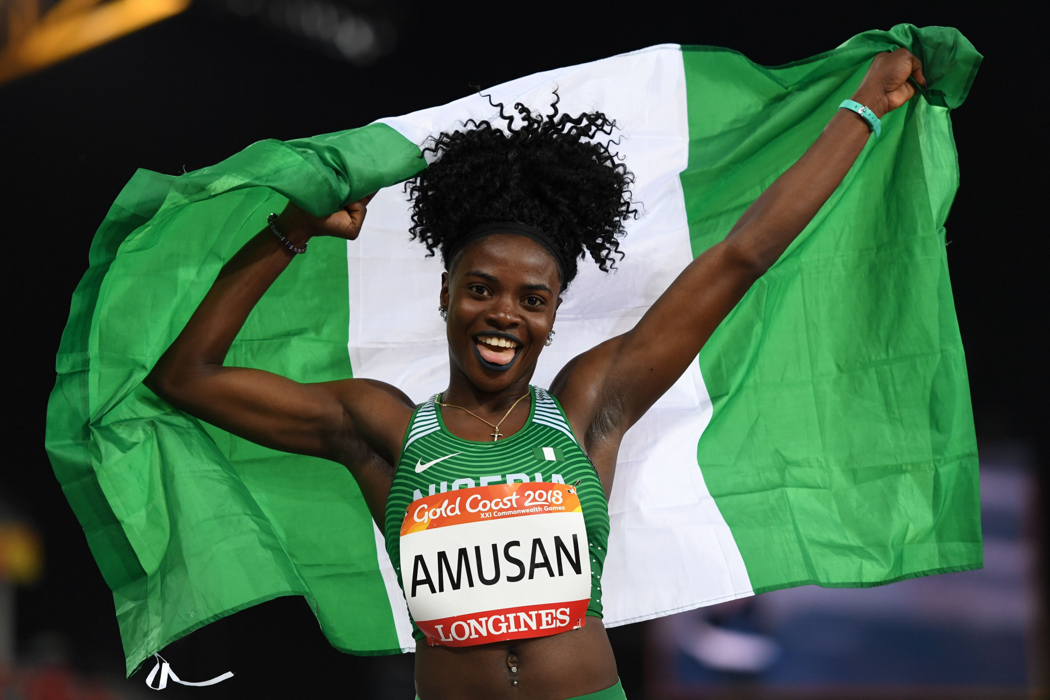 Commonwealth Games 100m hurdles champion Tobi Amusan is among the Nigerian athletes cleared to compete at the Olympics ©Getty Images