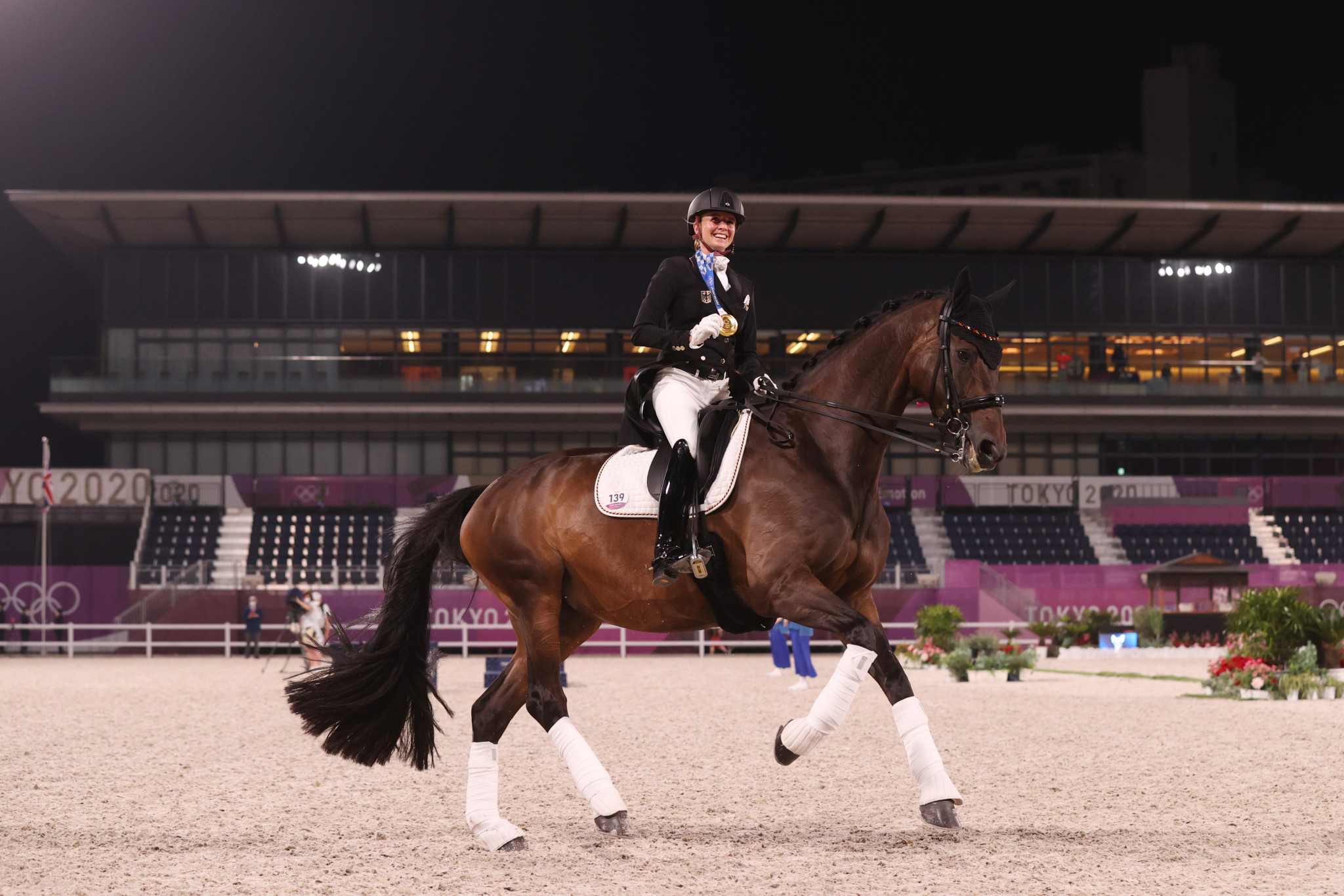 Jessica von Bredow-Werndl won individual dressage gold to add to the team title won with Germany yesterday, and is having a debut Games for the ages ©Getty Images