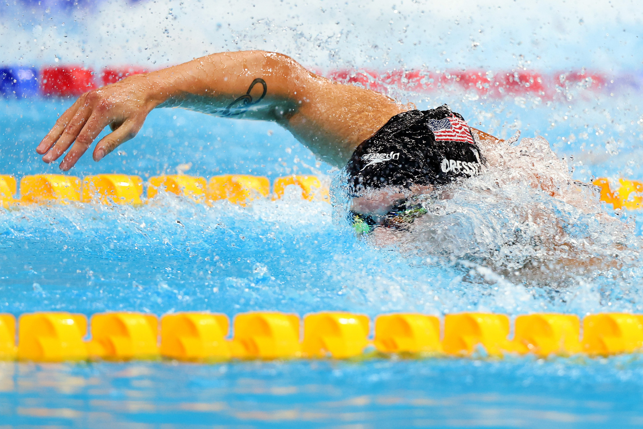 American Caeleb Dressel was another water-based vicor, crowned men's 100m freestyle champion ©Getty Images