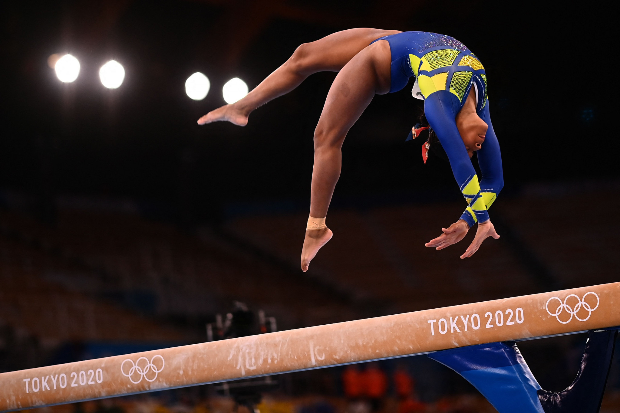 Rebeca Andrade is the first woman representing Brazil to claim an Olympic medal in artistic gymnastics, finishing 0.135 points behind Lee in second place ©Getty Images