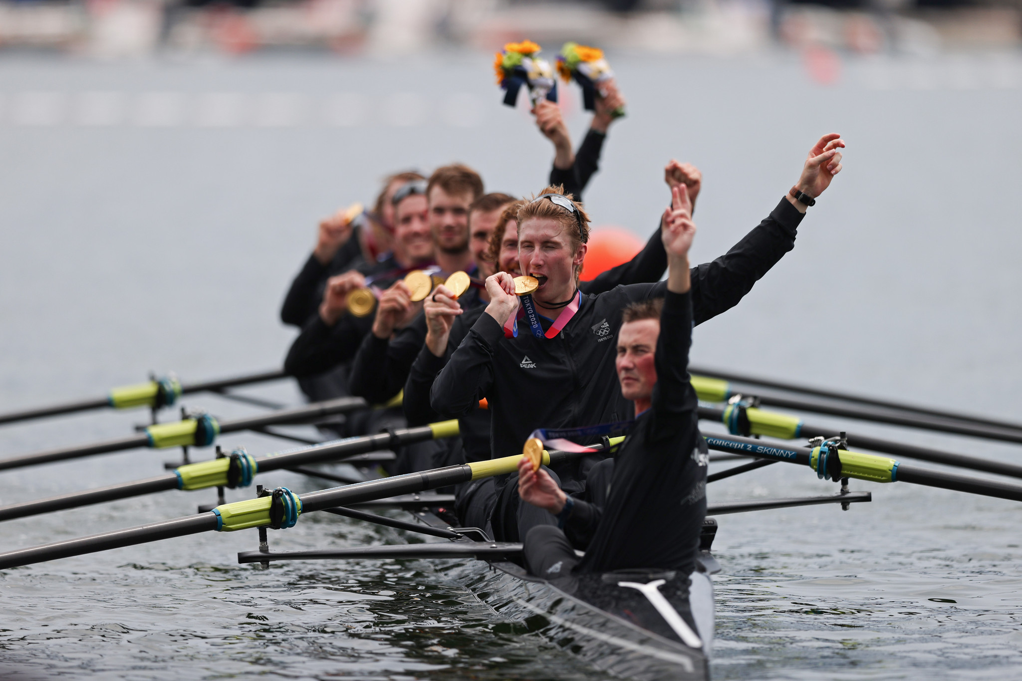 New Zealand's men's eight crew celebrate after clinching gold in the final rowing race of Tokyo 2020 ©Getty Images