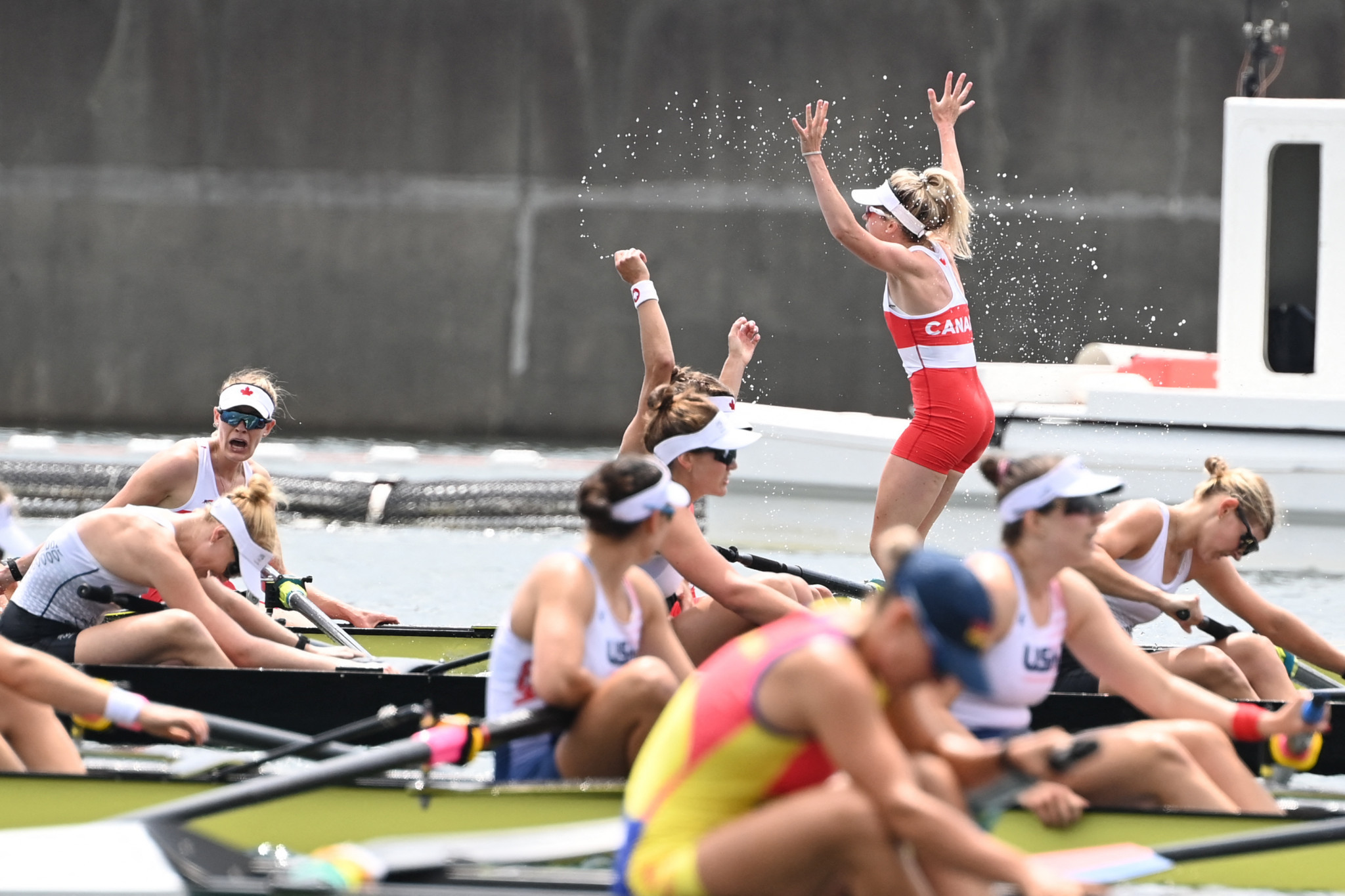 Kristen Kit is unable to control her excitement after being part of Canada's gold-medal winning women's eight team to end the United States' domination of the event ©Getty Images