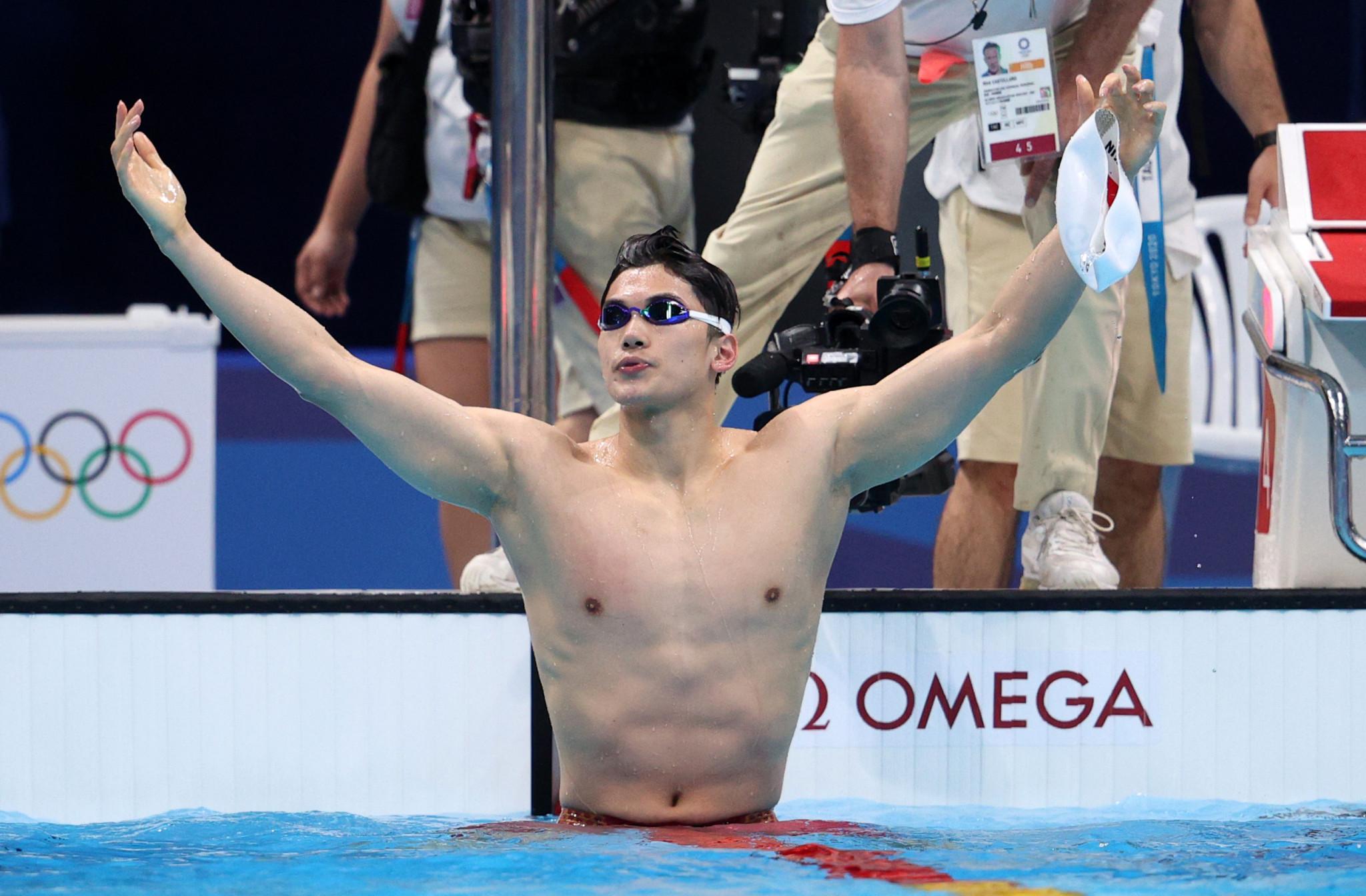 Wang Shun celebrates winning the men's individual 200m medley at Tokyo 2020 ©Getty Images