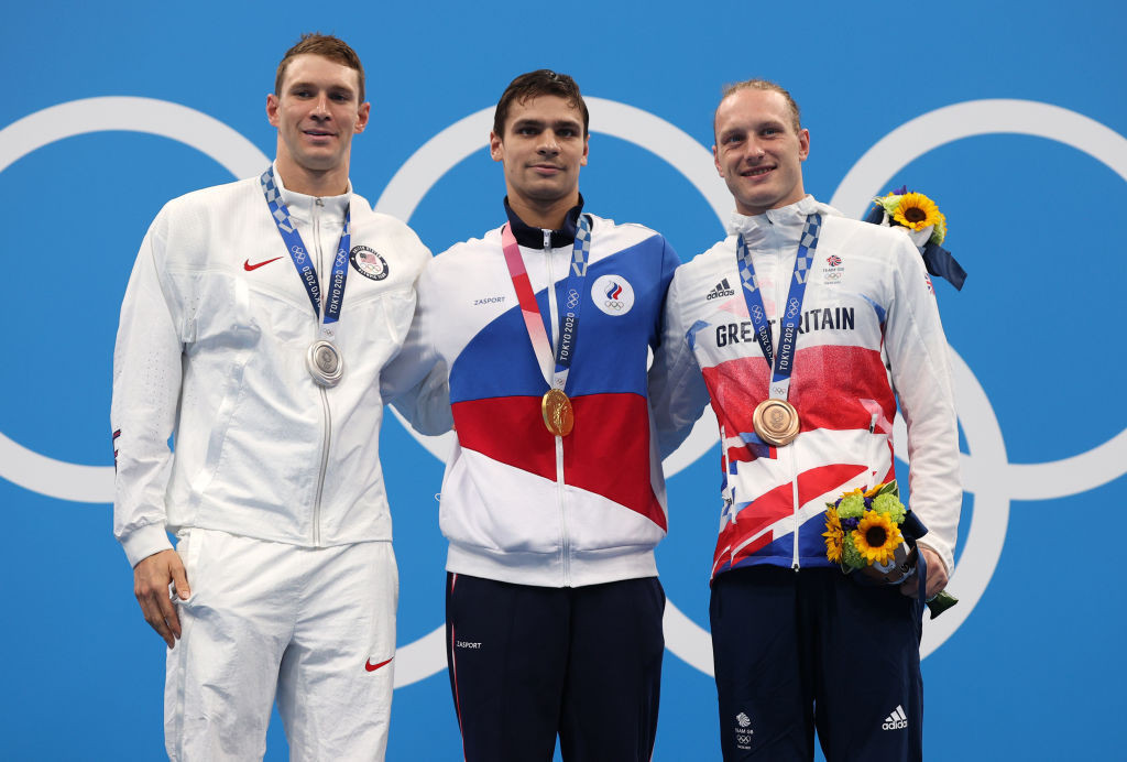 Ryan Murphy of the United States, pictured, left after the medal ceremony for today's men's 200m backstroke final, has questioned whether the race was clean - although said he was not accusing the ROC team winner Evgeny Rylov ©Getty Images