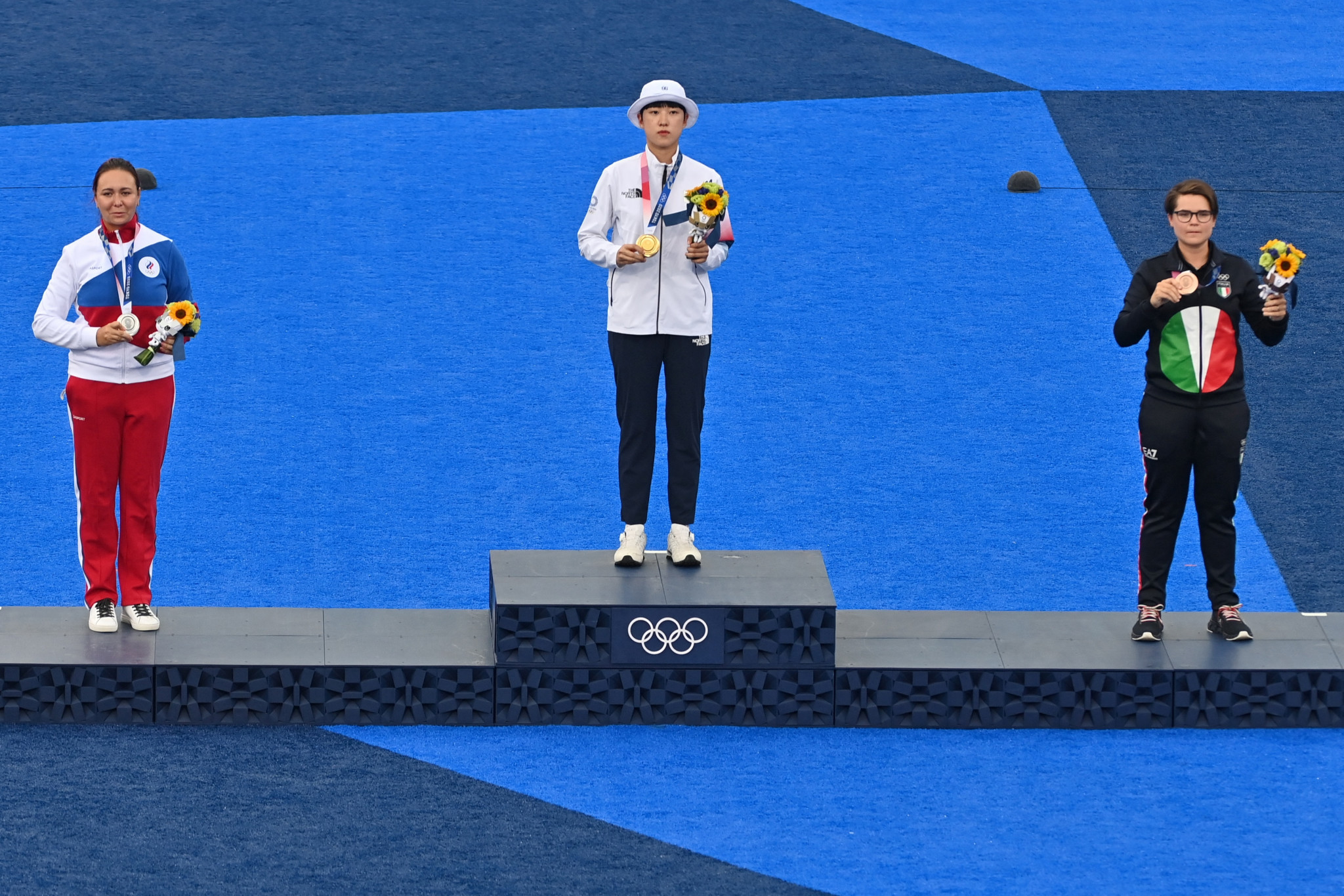 Elena Osipova, left, and Lucilla Boari, right, won silver and bronze respectively as An San became the first athlete to win three gold medals at the Tokyo 2020 Olympics ©Getty Images