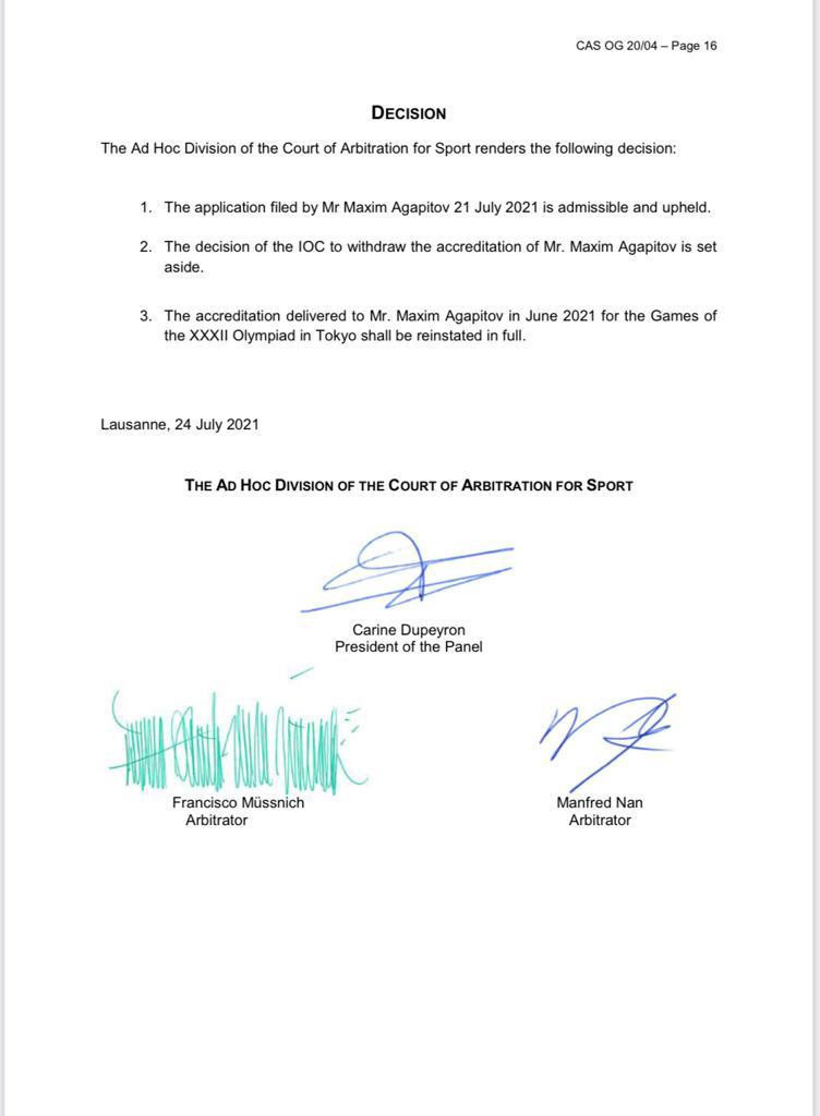 Maxim Agapitov had his Tokyo 2020 accreditation reinstated by the Court of Arbitration for Sport (CAS) after the International Olympic Committee (IOC) withdrew it ©Maxim Agapitov