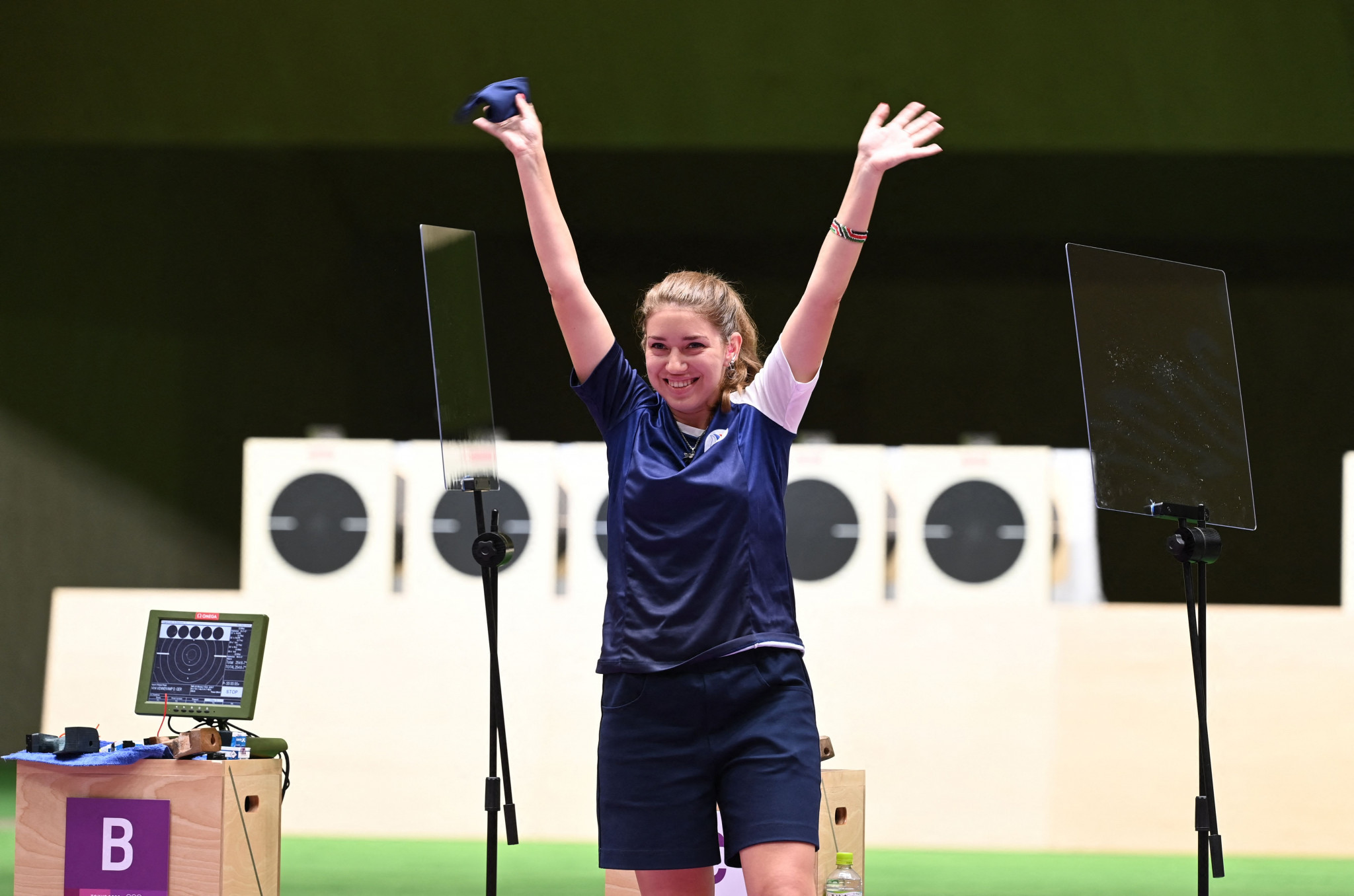 Vitalina Batsarashkina celebrates winning her second gold medal at Tokyo 2020 for the ROC, with an Olympic record score in the women's 25m air pistol shooting final ©Getty Images