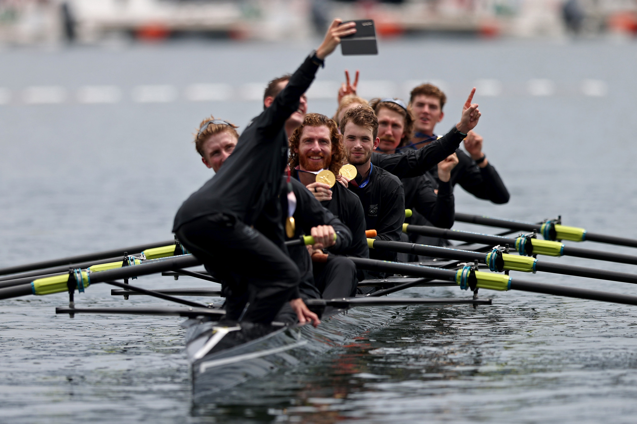 New Zealand's men's eight capture their gold medal winning celebrations on camera at the rowing ©Getty Images