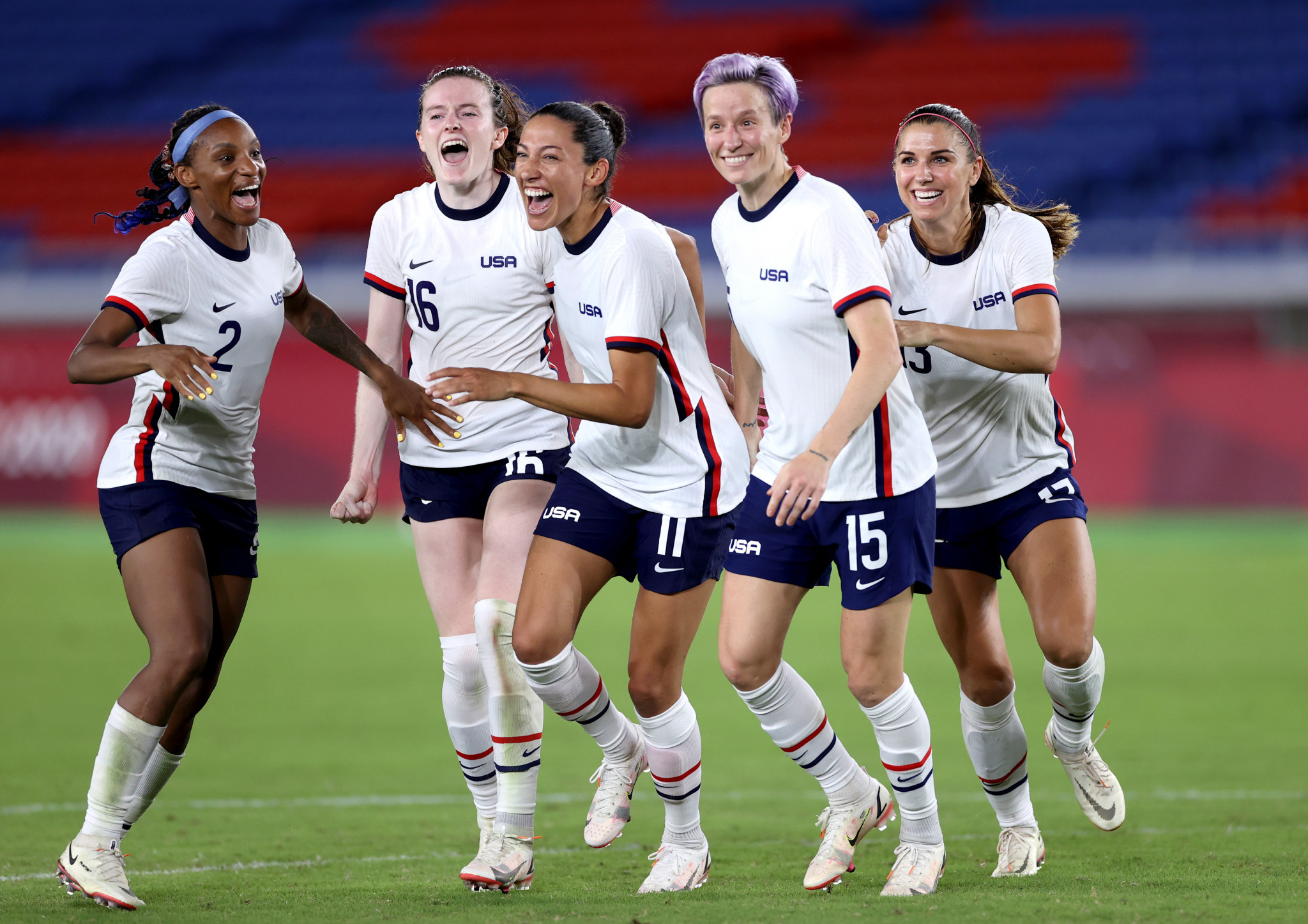 The United States celebrate reaching the women's football semi-finals after defeating The Netherlands on penalties ©Getty Images
