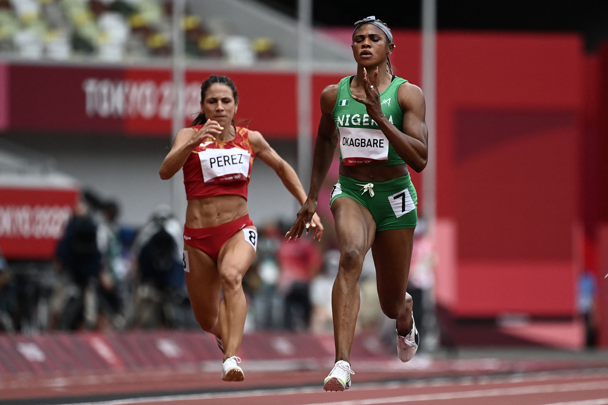 Blessing Okagbare won her heat in the 100 metres at Tokyo 2020 yesterday ©Getty Images