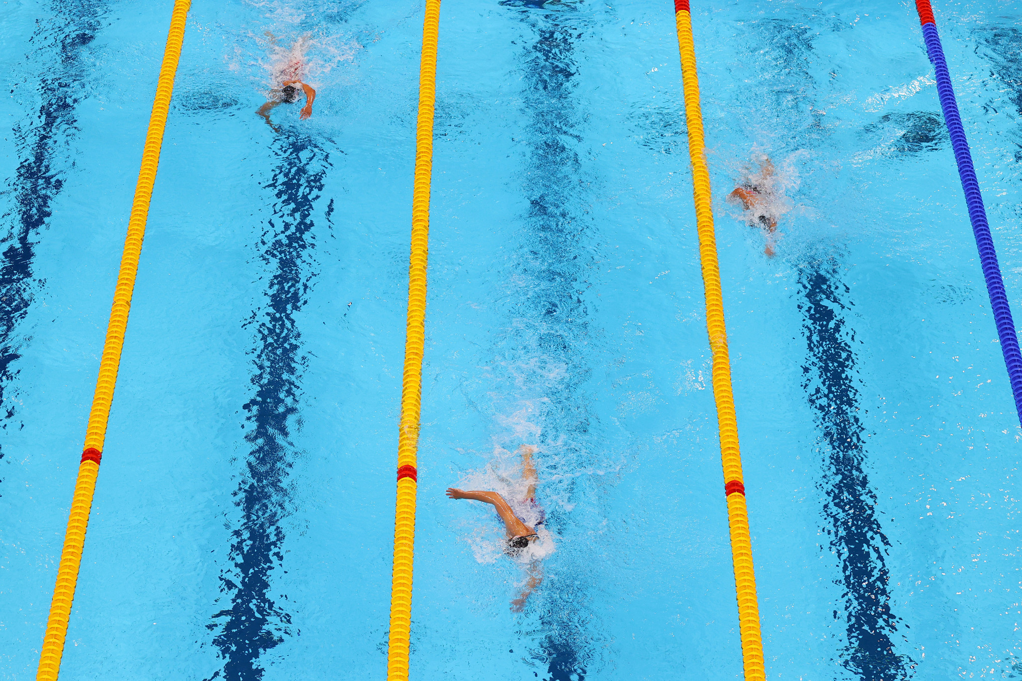 Katie Ledecky won the women's 800m freestyle for a third straight Olympics ©Getty Images