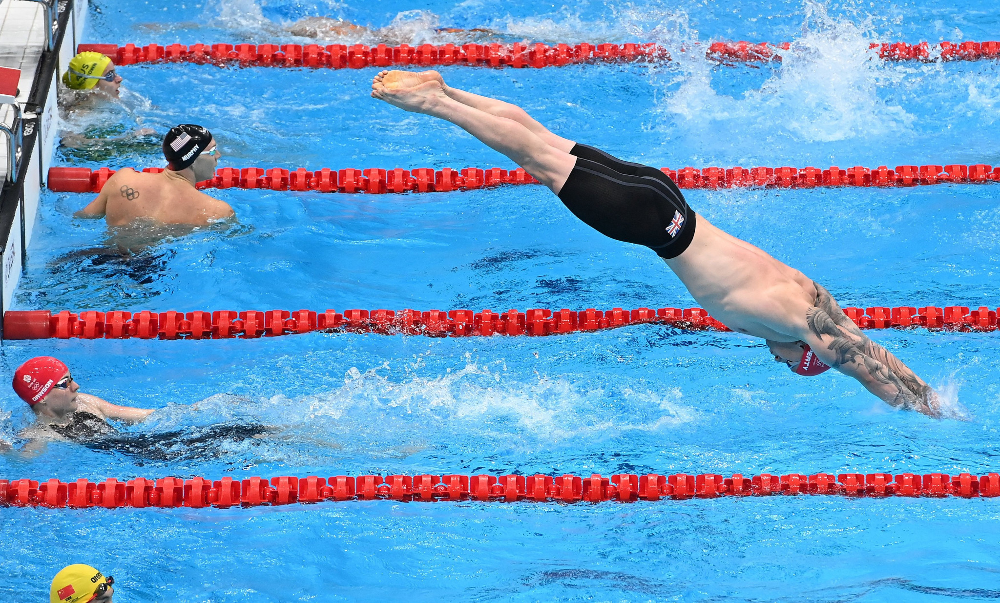 Britain triumphed in the inaugural mixed 4x100m medley relay in a world record time ©Getty Images