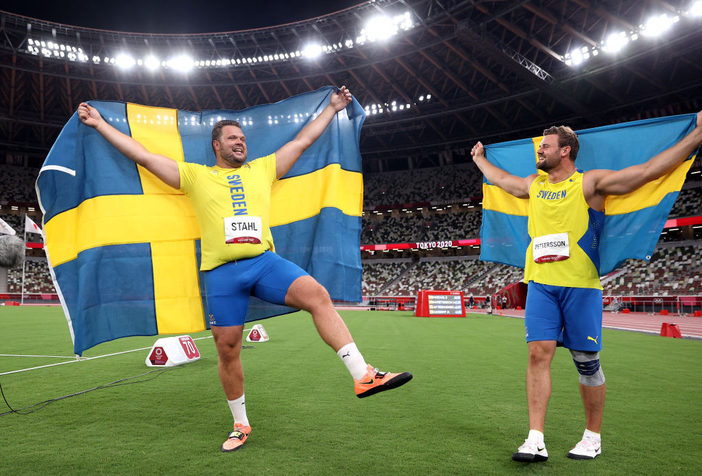 Joy for Sweden's Daniel Stahl, left, as he celebrates winning the men's discus title with silver medallist and training partner Simon Pettersson ©Getty Images