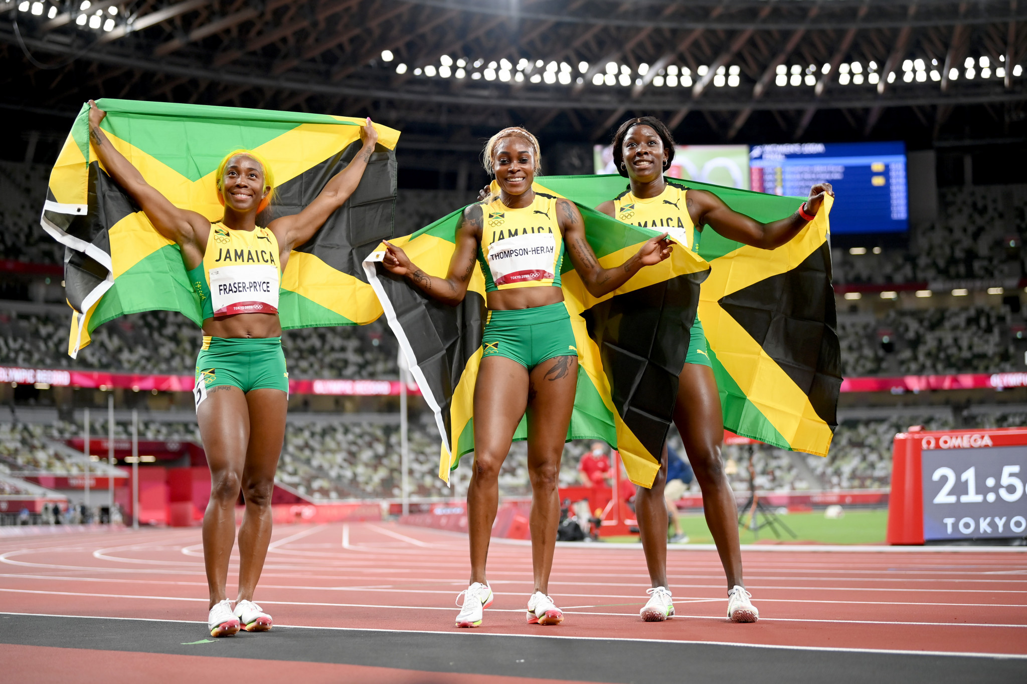 Jamaica claimed a clean sweep of the women's 100 metres thanks to Shelly-Ann Fraser-Pryce, Elaine Thompson-Herah and Shericka Jackson ©Getty Images