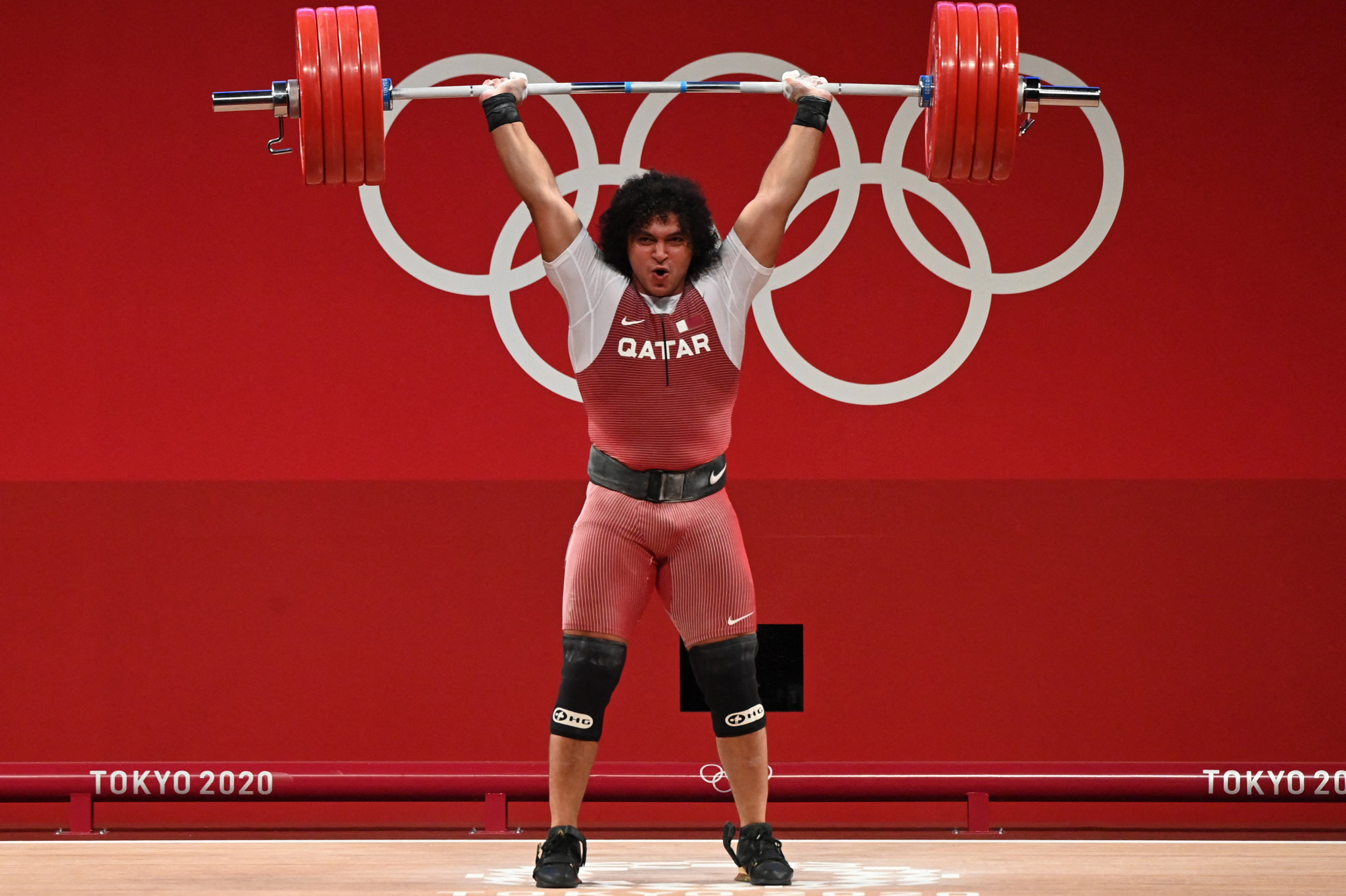 Fares Elbakh of Qatar won the country's first ever Olympic gold medal in the men's 96kg weightlifting category ©Getty Images