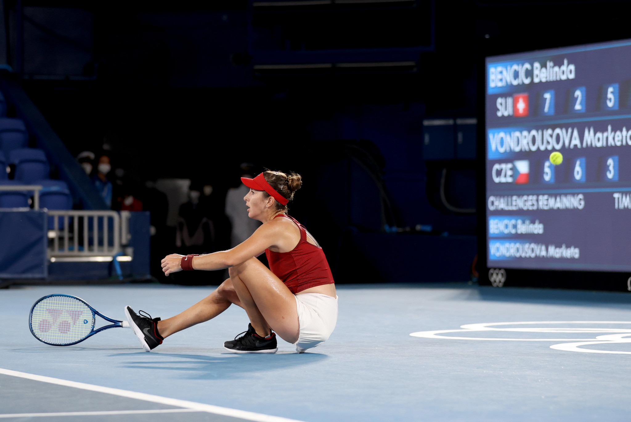 Switzerland's Belinda Bencic reacts to winning the women's singles tennis gold medal match in three sets ©Getty Images