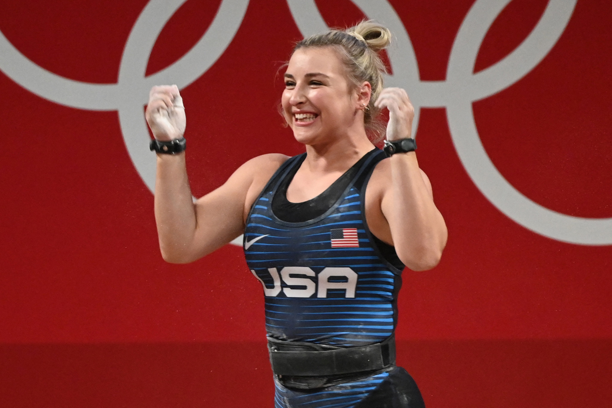 Kate Nye, who suffers from bipolar disorder, earned a silver medal in the 76kg weightlifting category at the Tokyo 2020 Olympics ©Getty Images