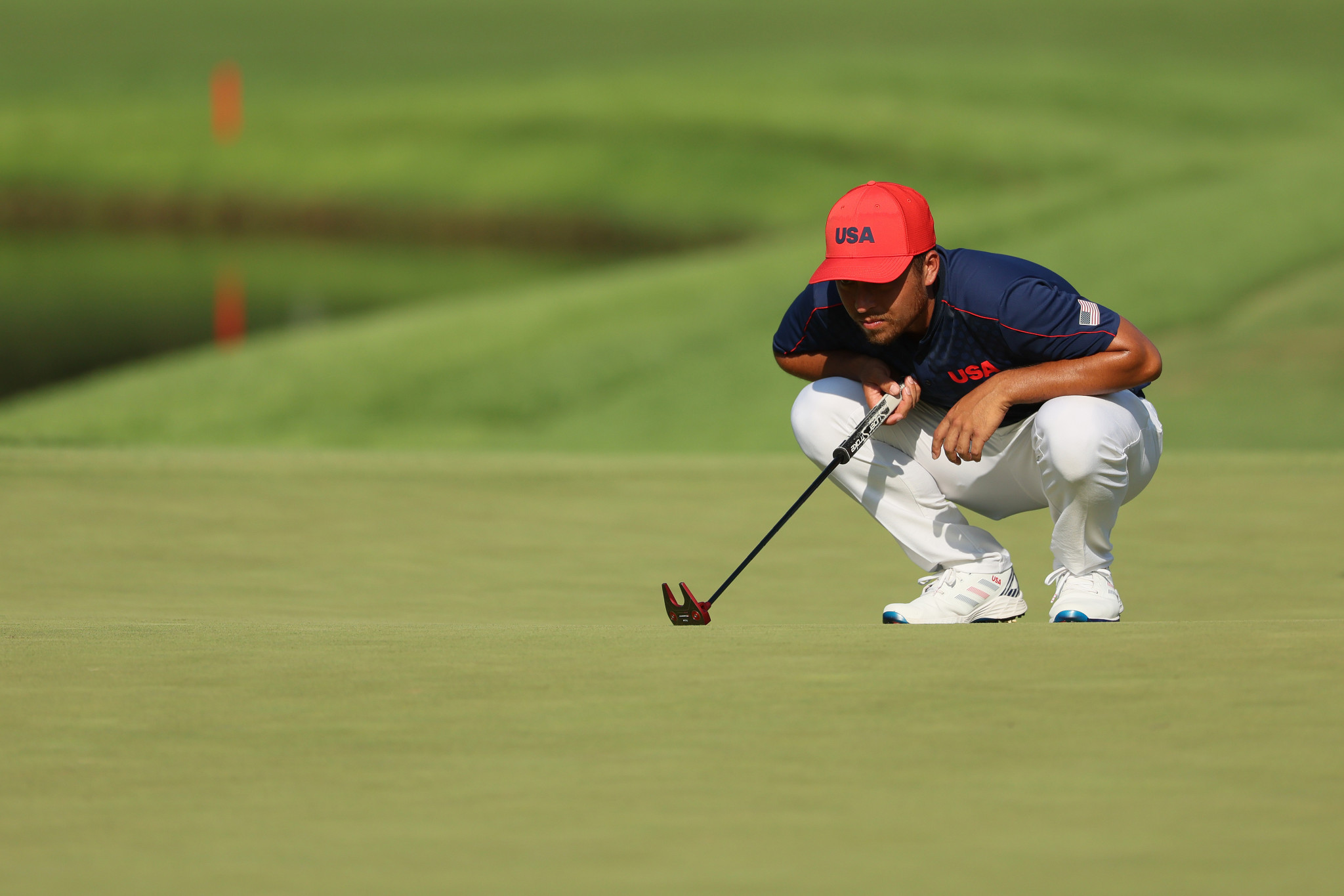 Xander Schauffele of the United States won the men's golf gold medal - but a seven-way playoff was needed to decide third place ©Getty Images
