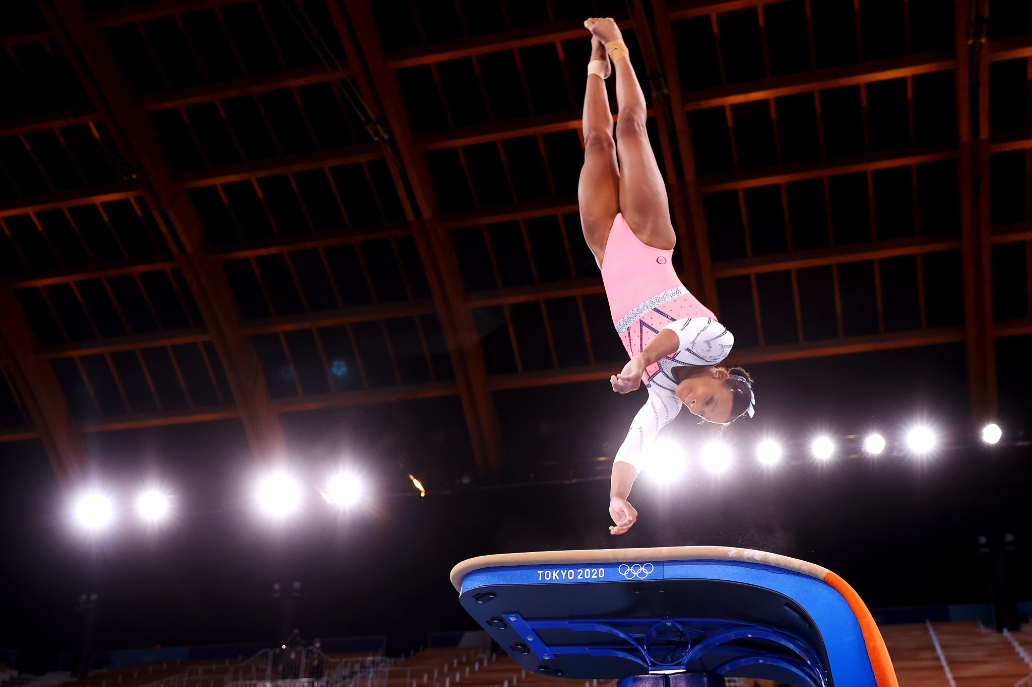 Rebeca Andrade won the women's vault and became the first Brazilian woman to win a gymnastics gold medal on a day of firsts at the Ariake Gymnastics Centre ©Getty Images