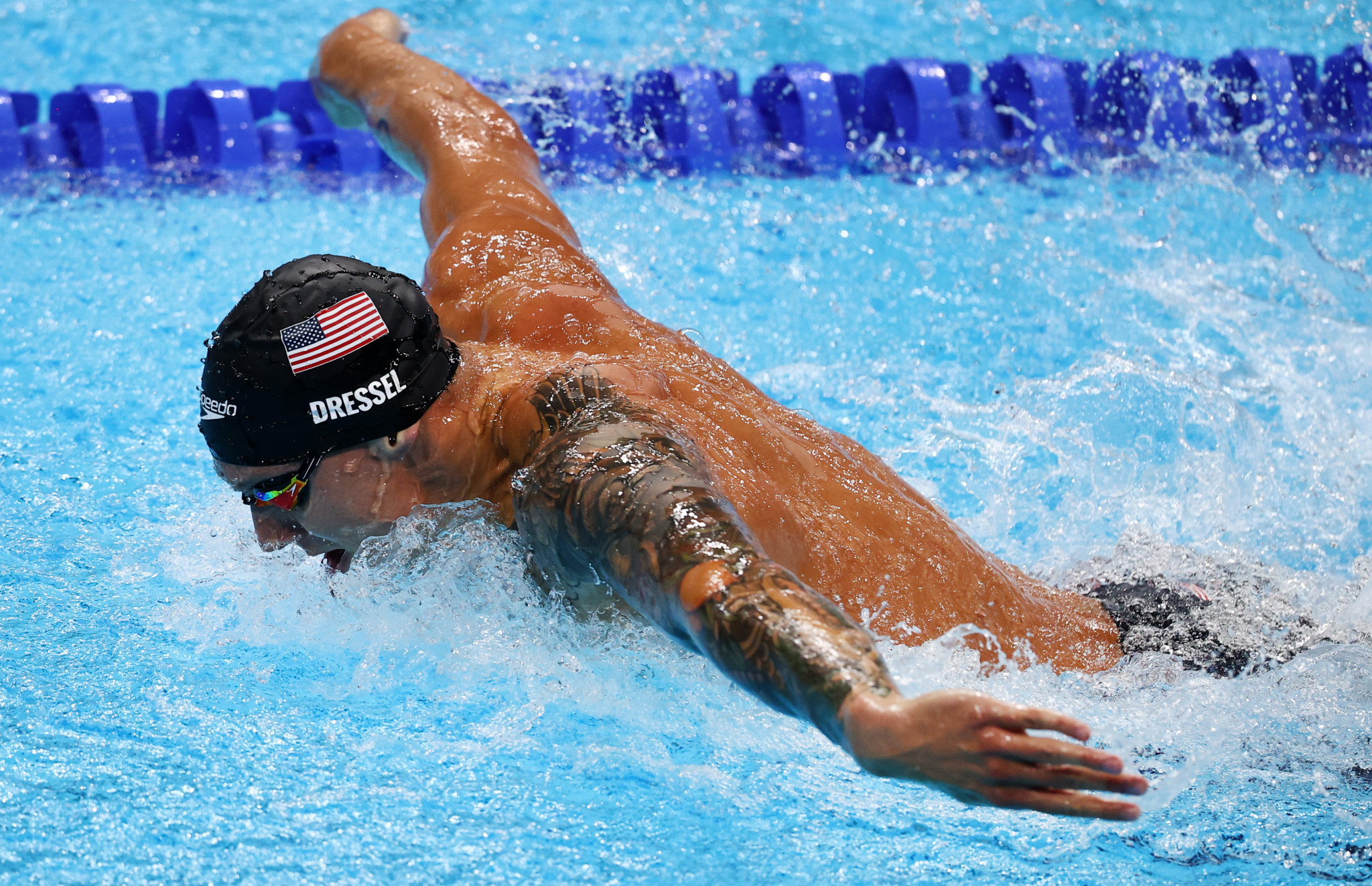 American Caeleb Dressel won the men's equivalents on the final day of swimming competition, and leaves Tokyo 2020 with five gold medals ©Getty Images