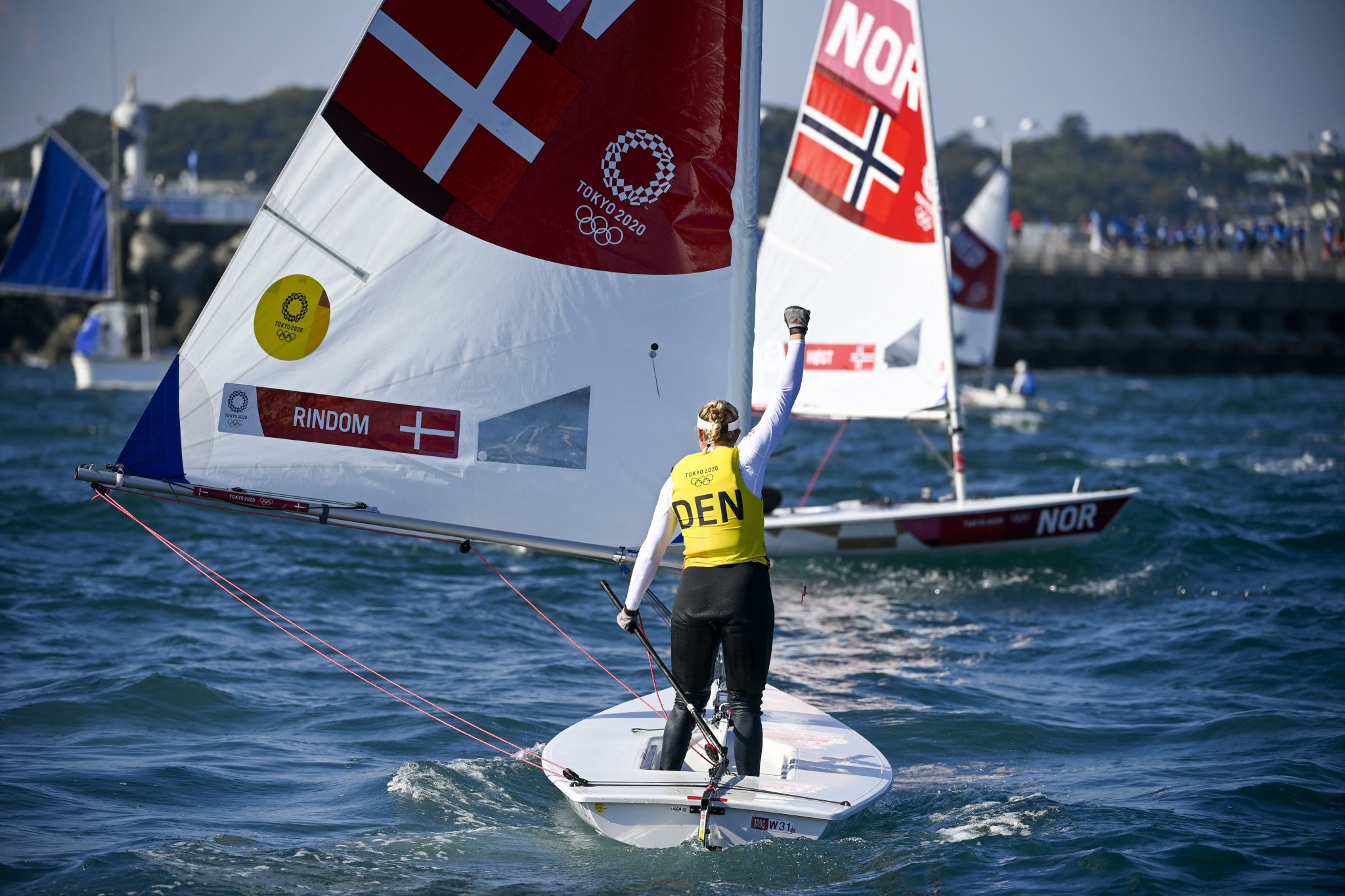 Denmark's Anne-Marie Rindom at one stage thought she had been disqualified, but ended the women's laser radial competition as the new Olympic champion ©Getty Images
