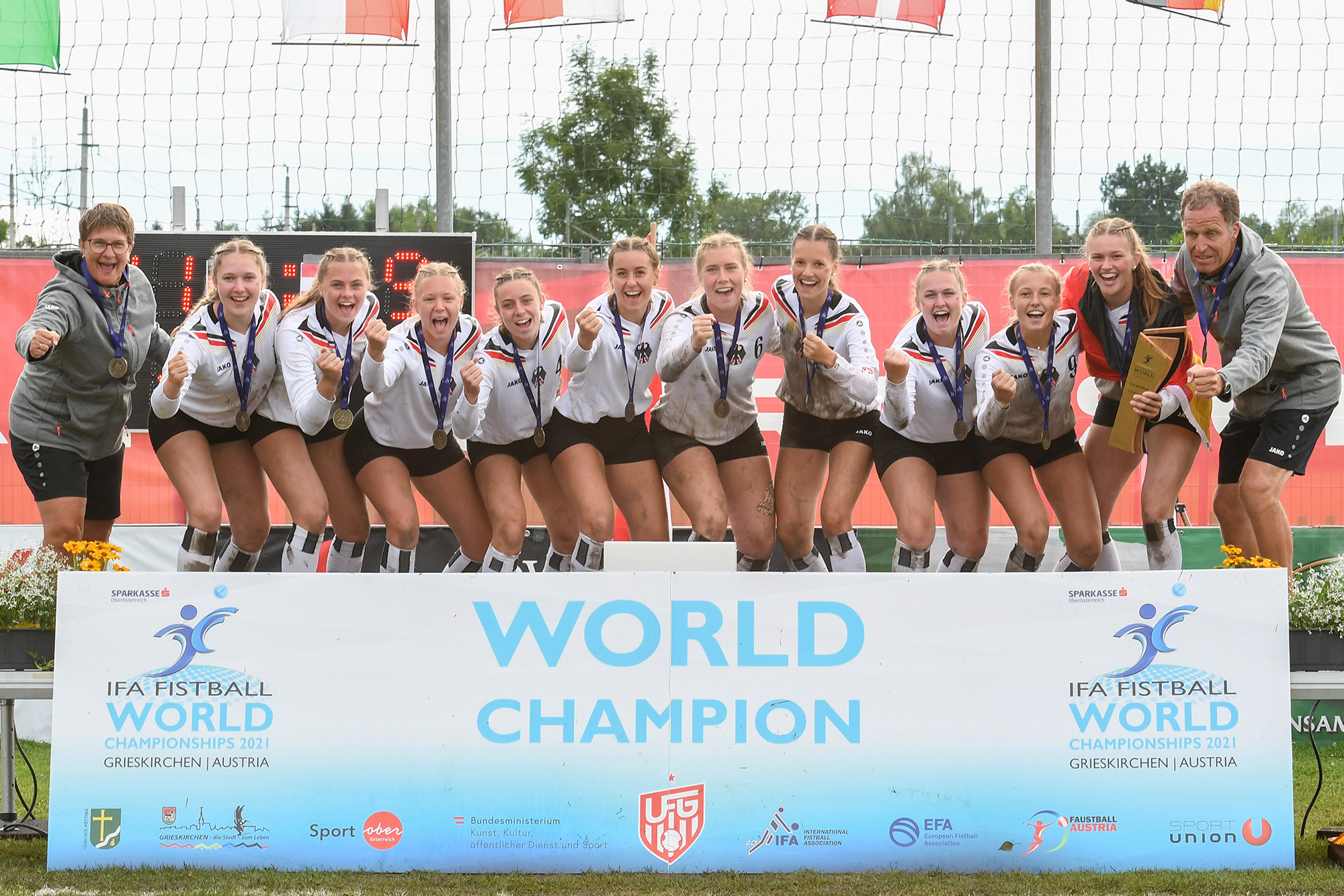 Germany beat Austria to win both under-18 fistball world titles