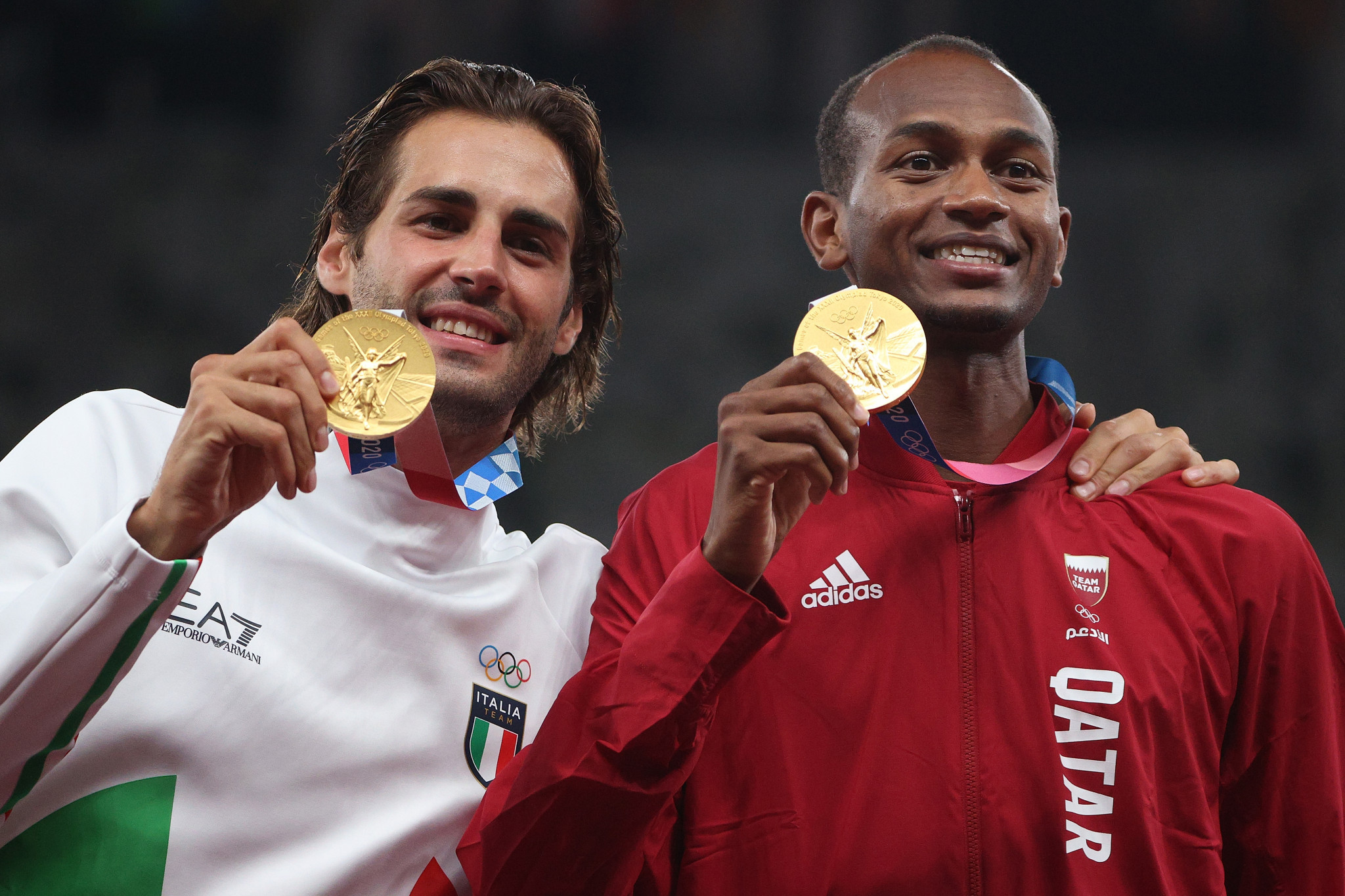 Mutaz Barshim, right, won a bronze medal at London 2012, silver at Rio 2016 and then gold at Tokyo 2020, while Gianmarco Tamberi won his first Olympic medal ©Getty Images