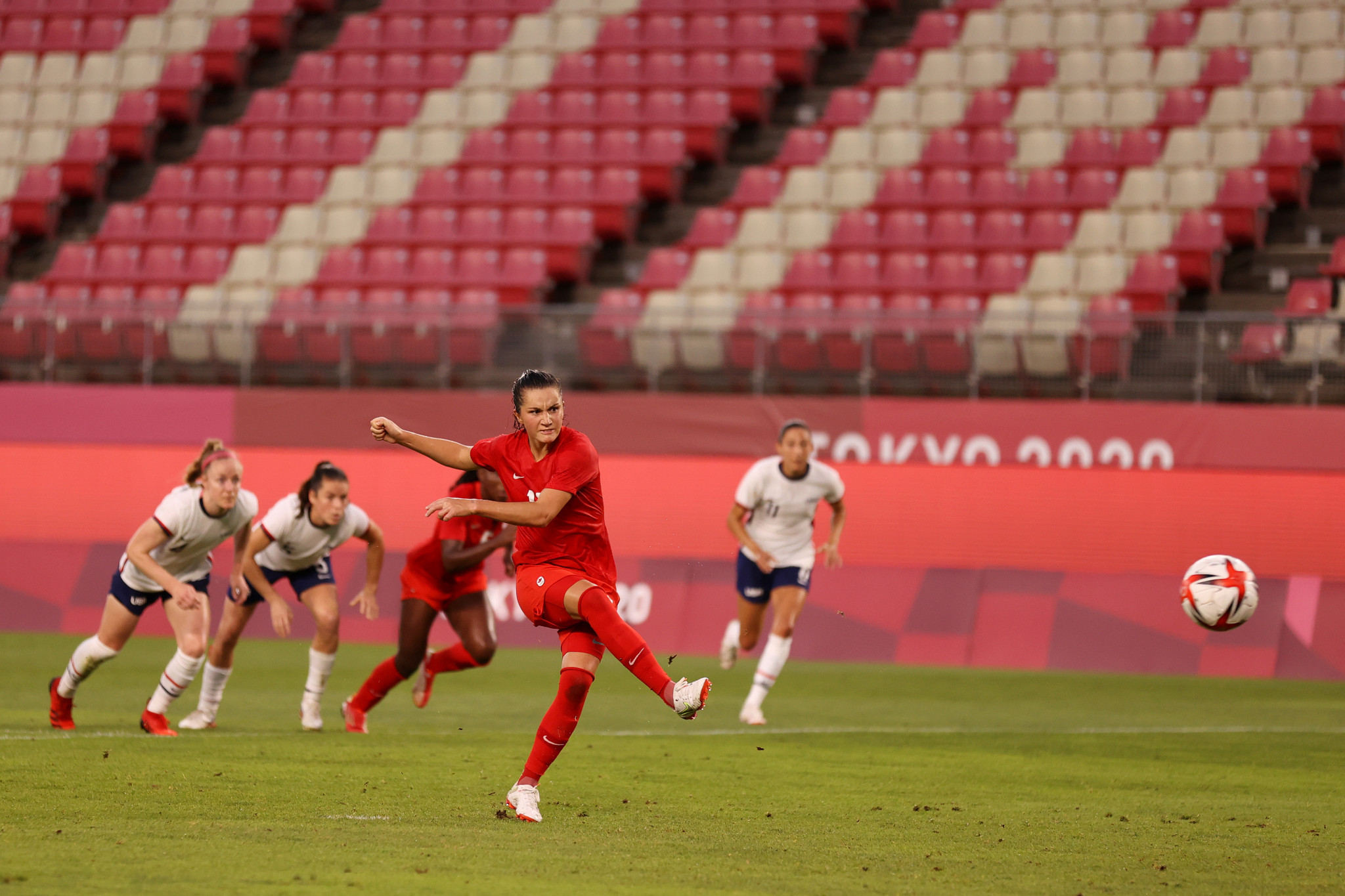 One American team no longer able to win gold is the women's football side, after Jessie Fleming's penalty gave Canada a 1-0 semi-final victory ©Getty Images