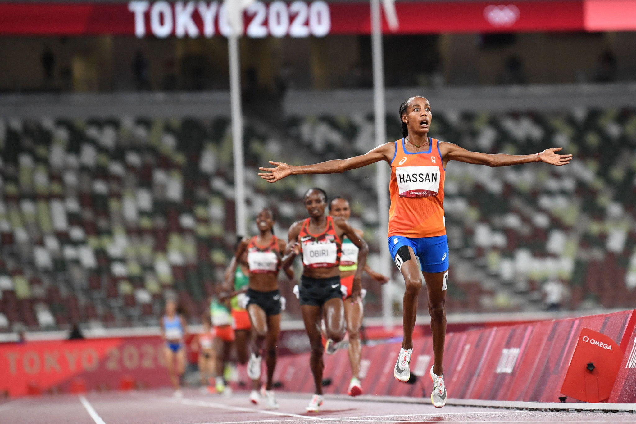 Dutch star Sifan Hassan fell in 1500m qualifying but still advanced, dusted herself off and went on to win the women's 5,000m gold medal ©Getty Images
