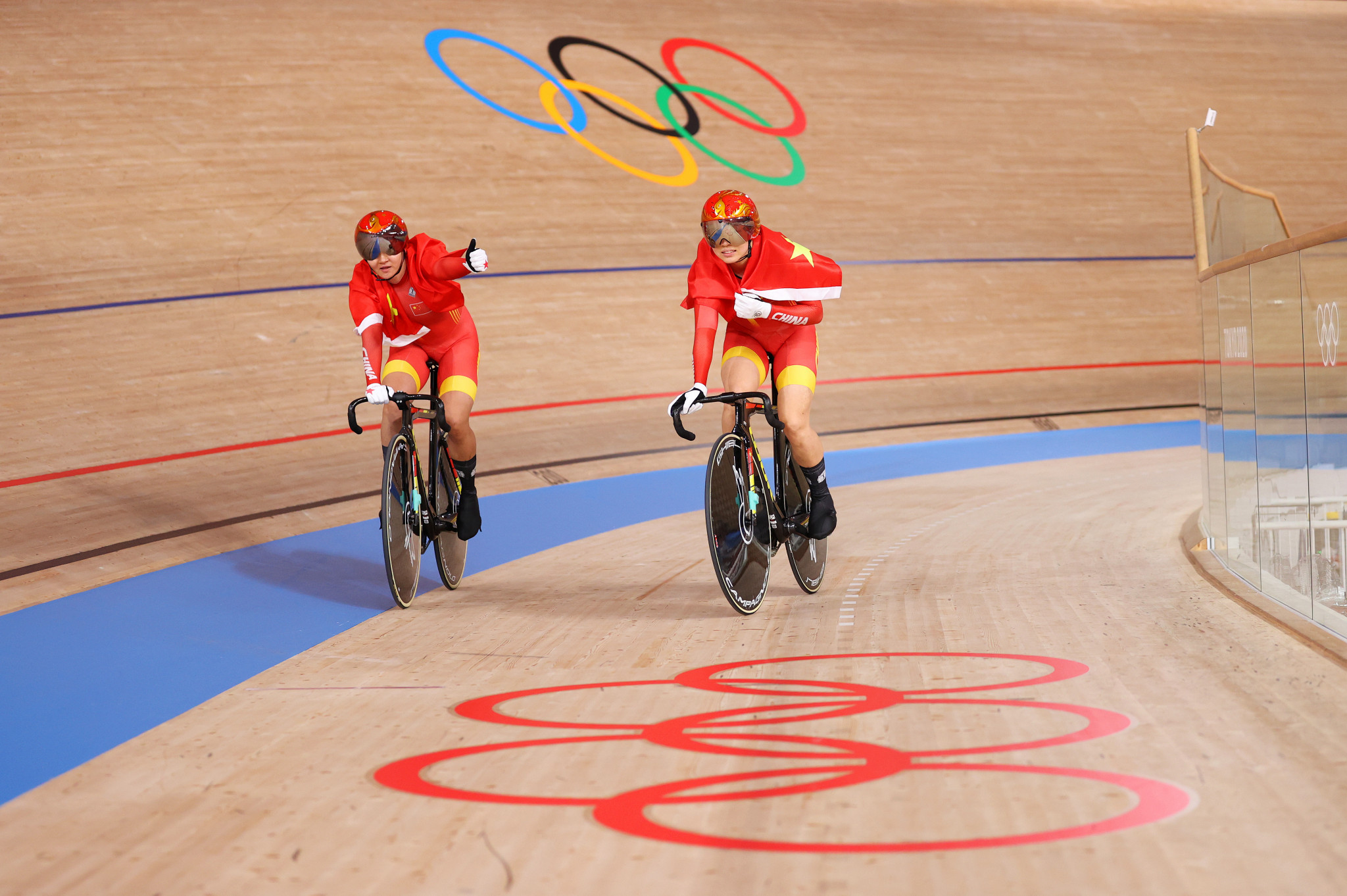 Track cycling began today and Bao Shanju and Zhong Tianshi won the first gold medal, in the women's team sprint, for China  ©Getty Images